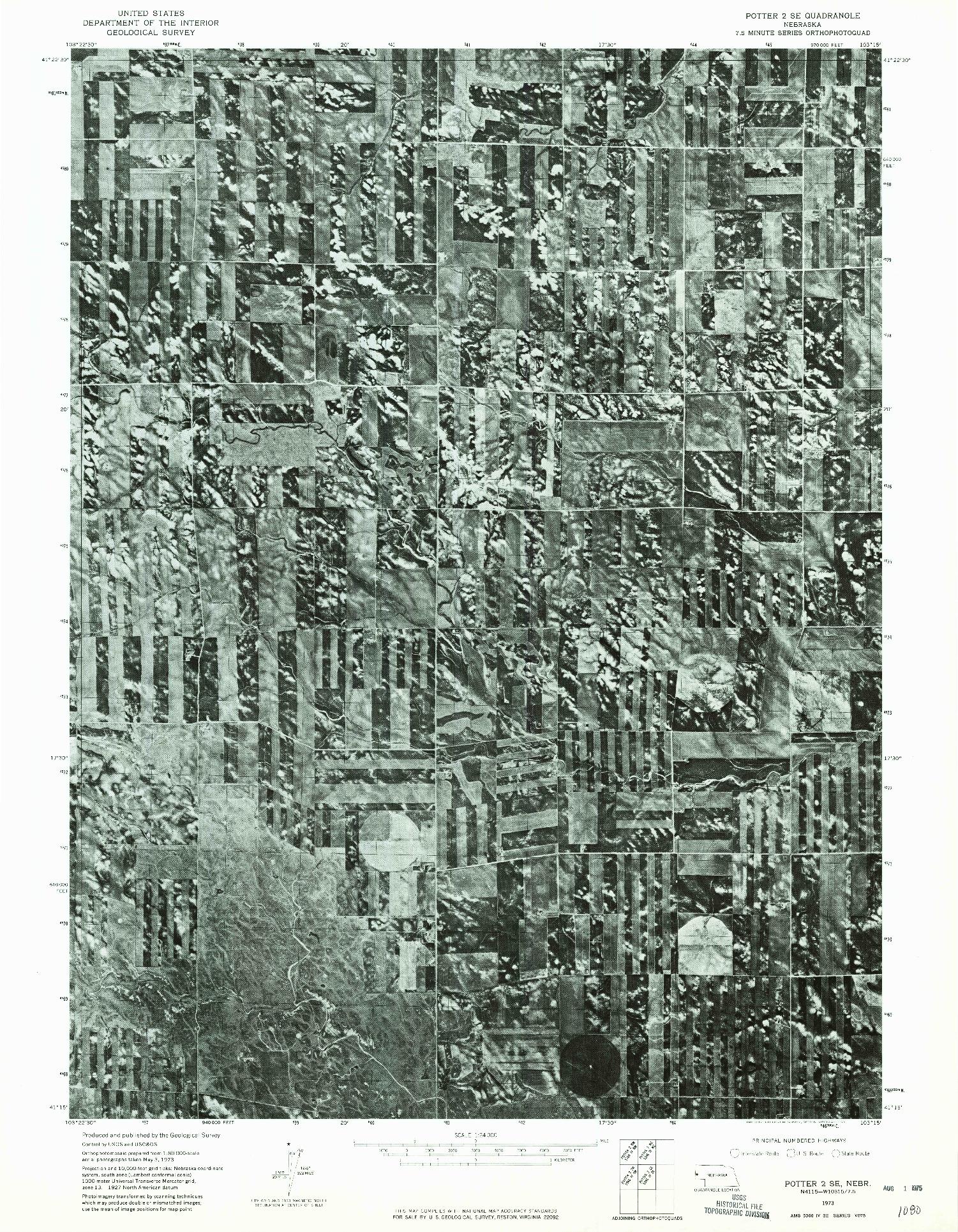 USGS 1:24000-SCALE QUADRANGLE FOR POTTER 2 SE, NE 1973