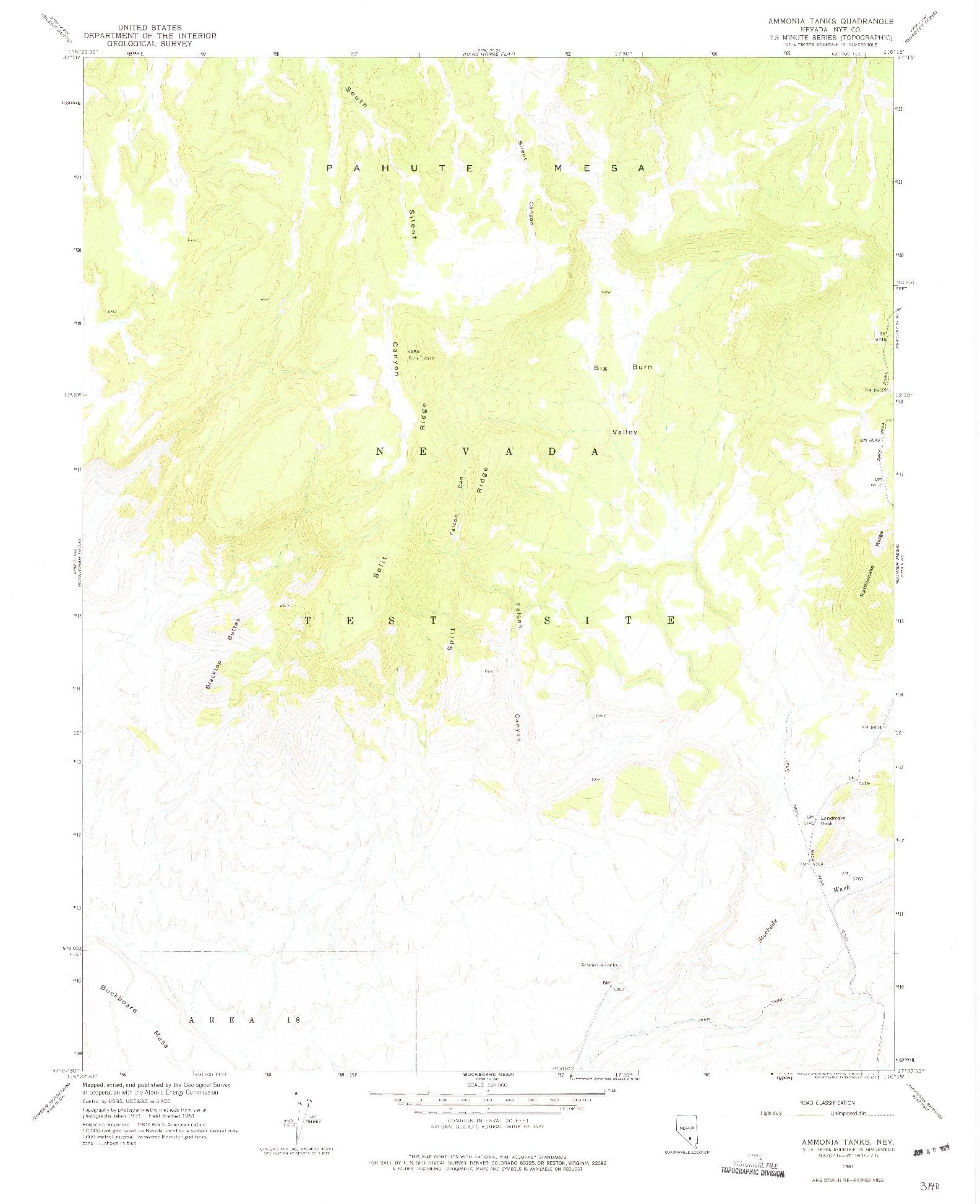 USGS 1:24000-SCALE QUADRANGLE FOR AMMONIA TANKS, NV 1961