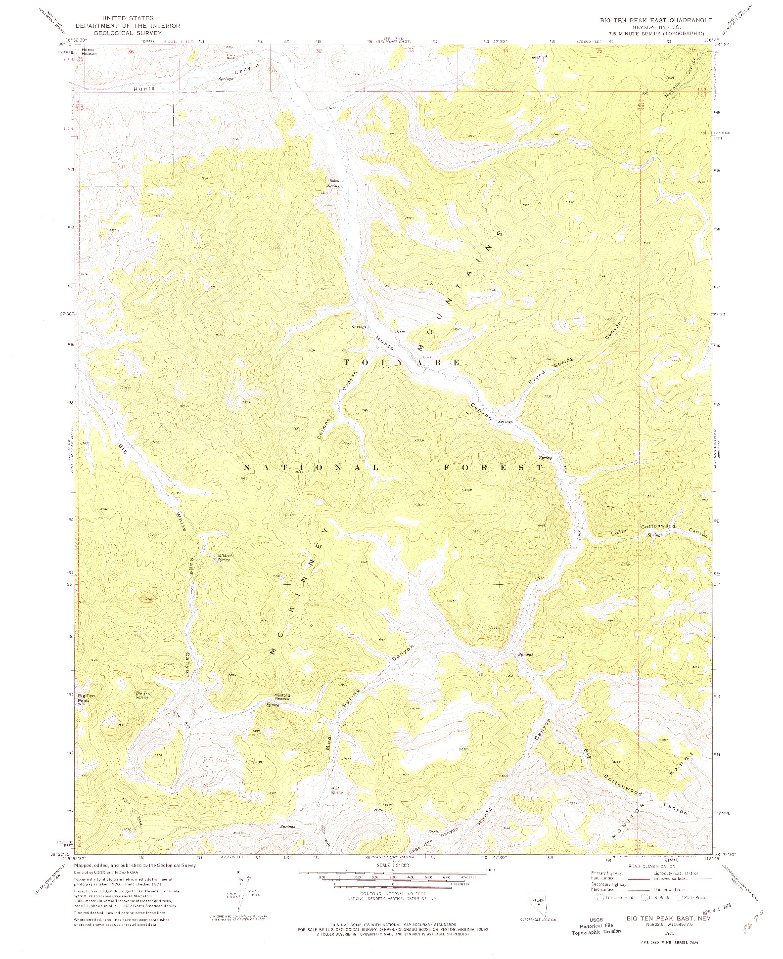 USGS 1:24000-SCALE QUADRANGLE FOR BIG TEN PEAK EAST, NV 1971