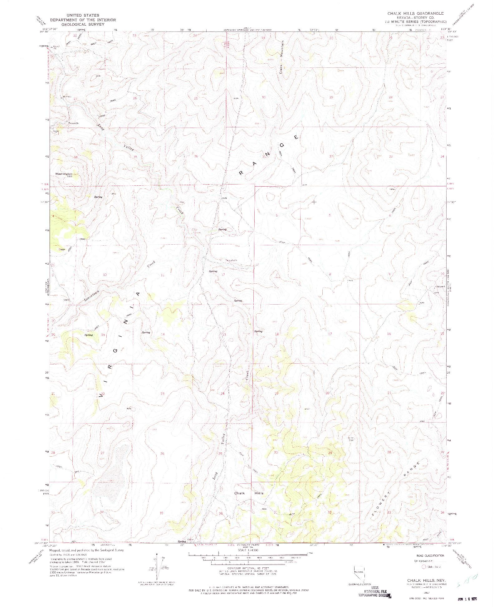 USGS 1:24000-SCALE QUADRANGLE FOR CHALK HILLS, NV 1967