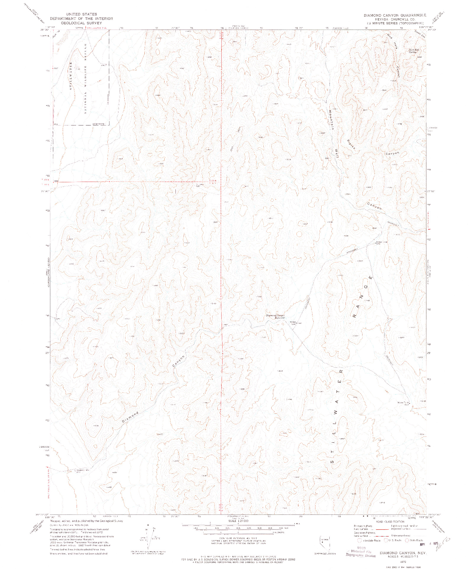 USGS 1:24000-SCALE QUADRANGLE FOR DIAMOND CANYON, NV 1972