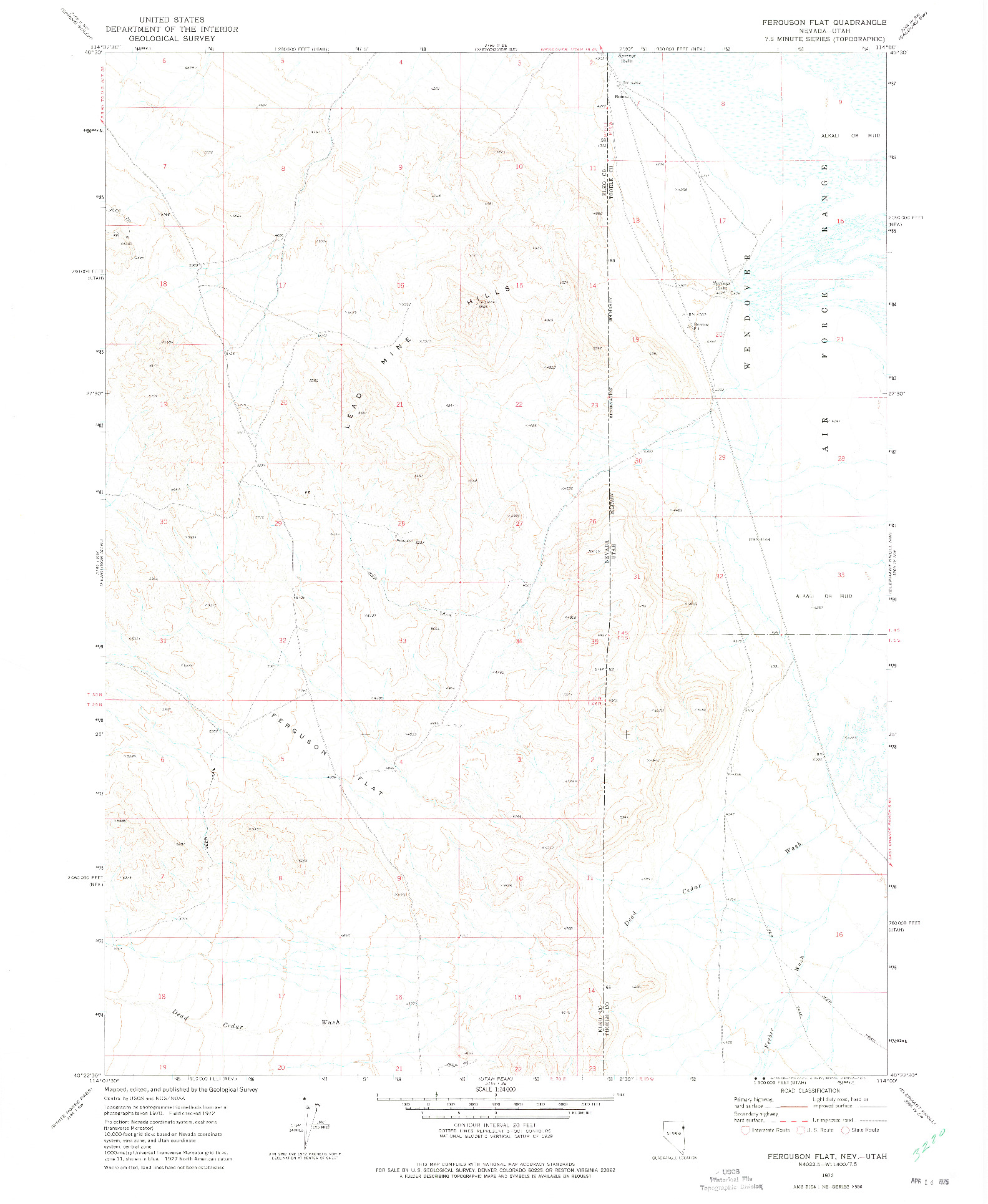 USGS 1:24000-SCALE QUADRANGLE FOR FERGUSON FLAT, NV 1972