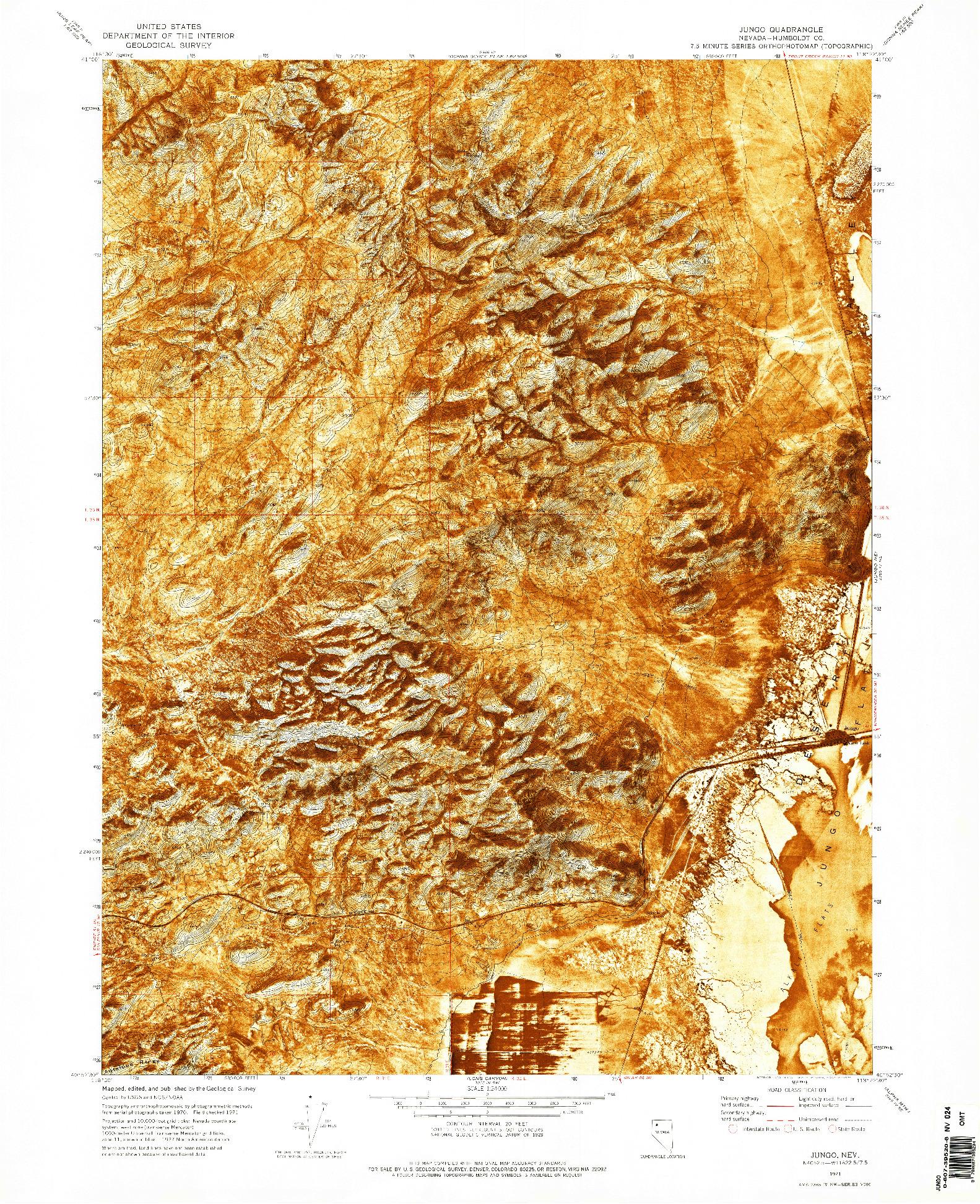 USGS 1:24000-SCALE QUADRANGLE FOR JUNGO, NV 1971