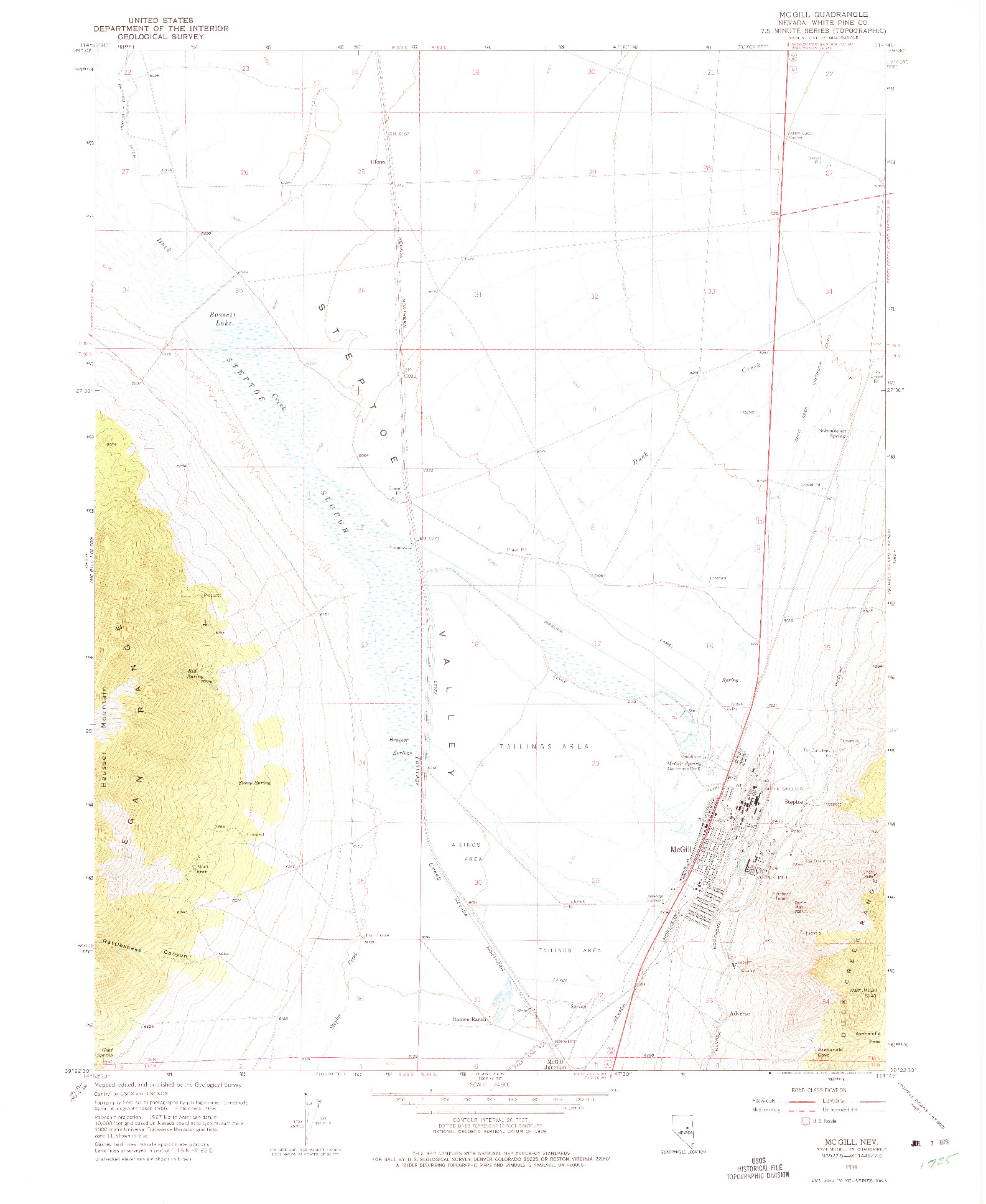 USGS 1:24000-SCALE QUADRANGLE FOR MCGILL, NV 1958