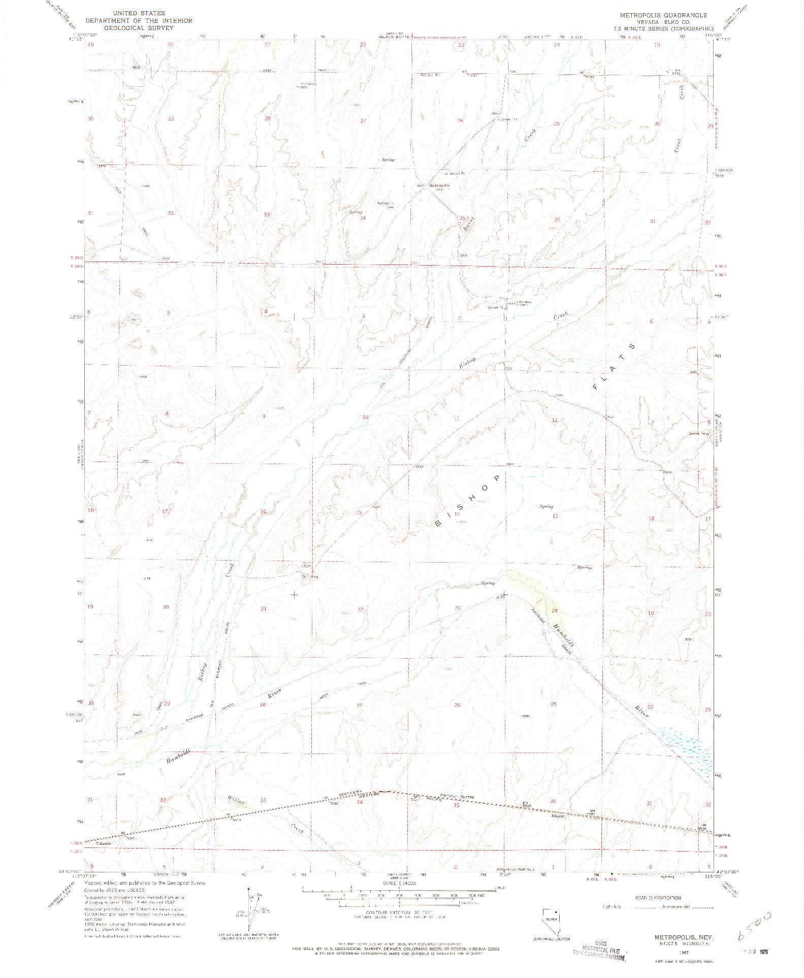 USGS 1:24000-SCALE QUADRANGLE FOR METROPOLIS, NV 1967