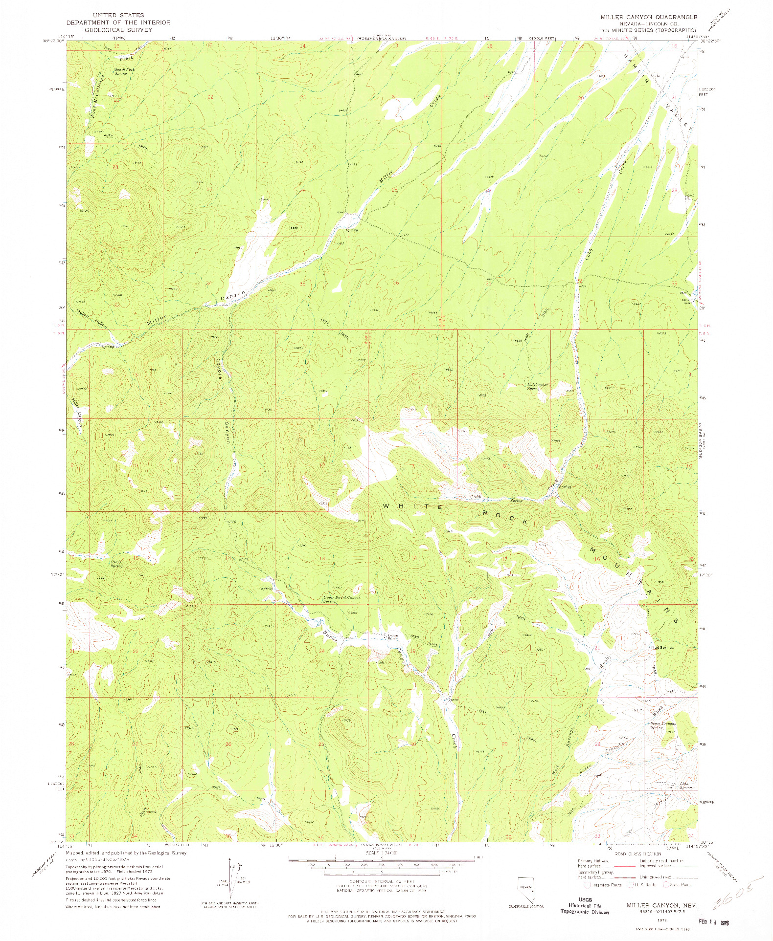 USGS 1:24000-SCALE QUADRANGLE FOR MILLER CANYON, NV 1972