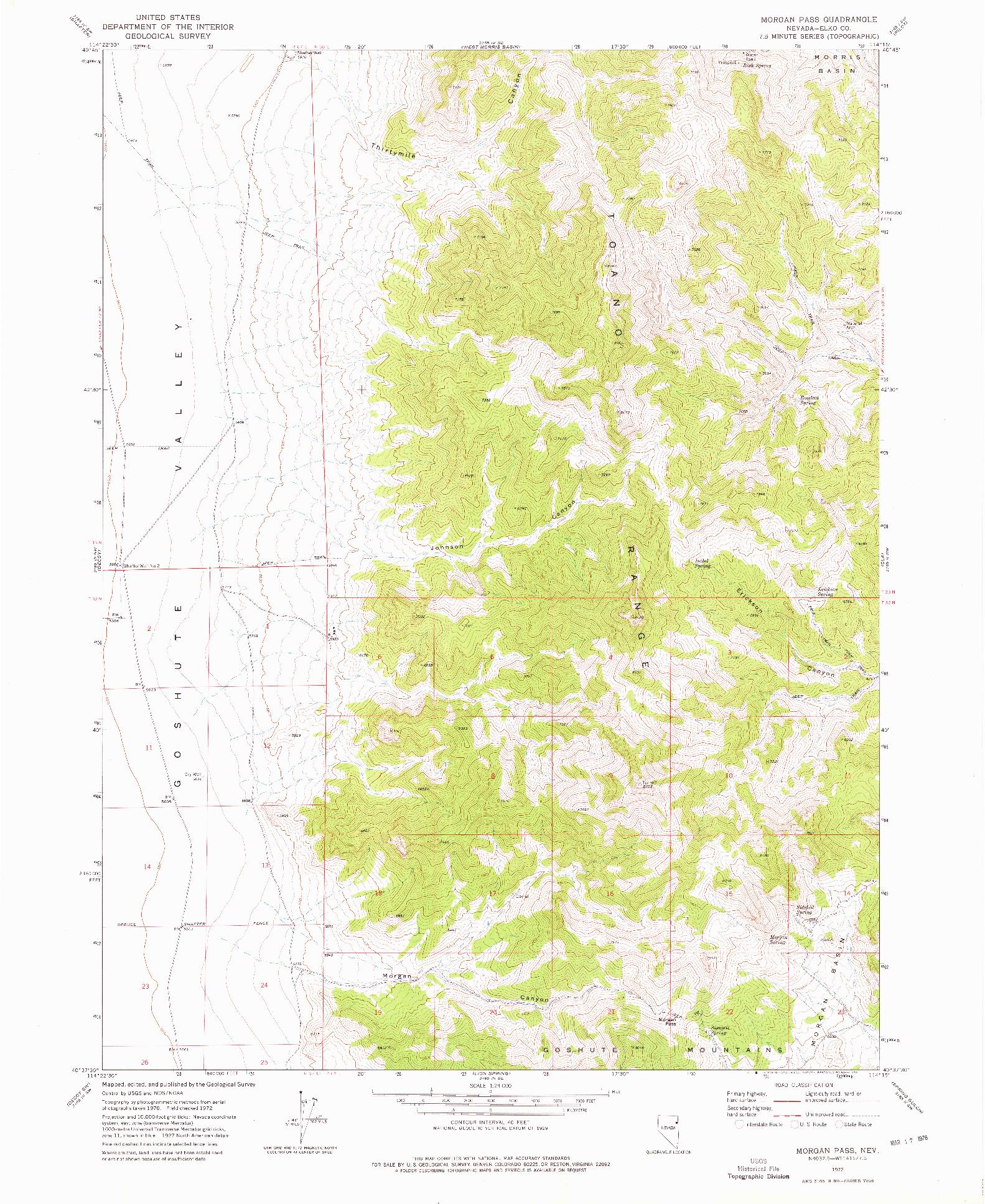 USGS 1:24000-SCALE QUADRANGLE FOR MORGAN PASS, NV 1972