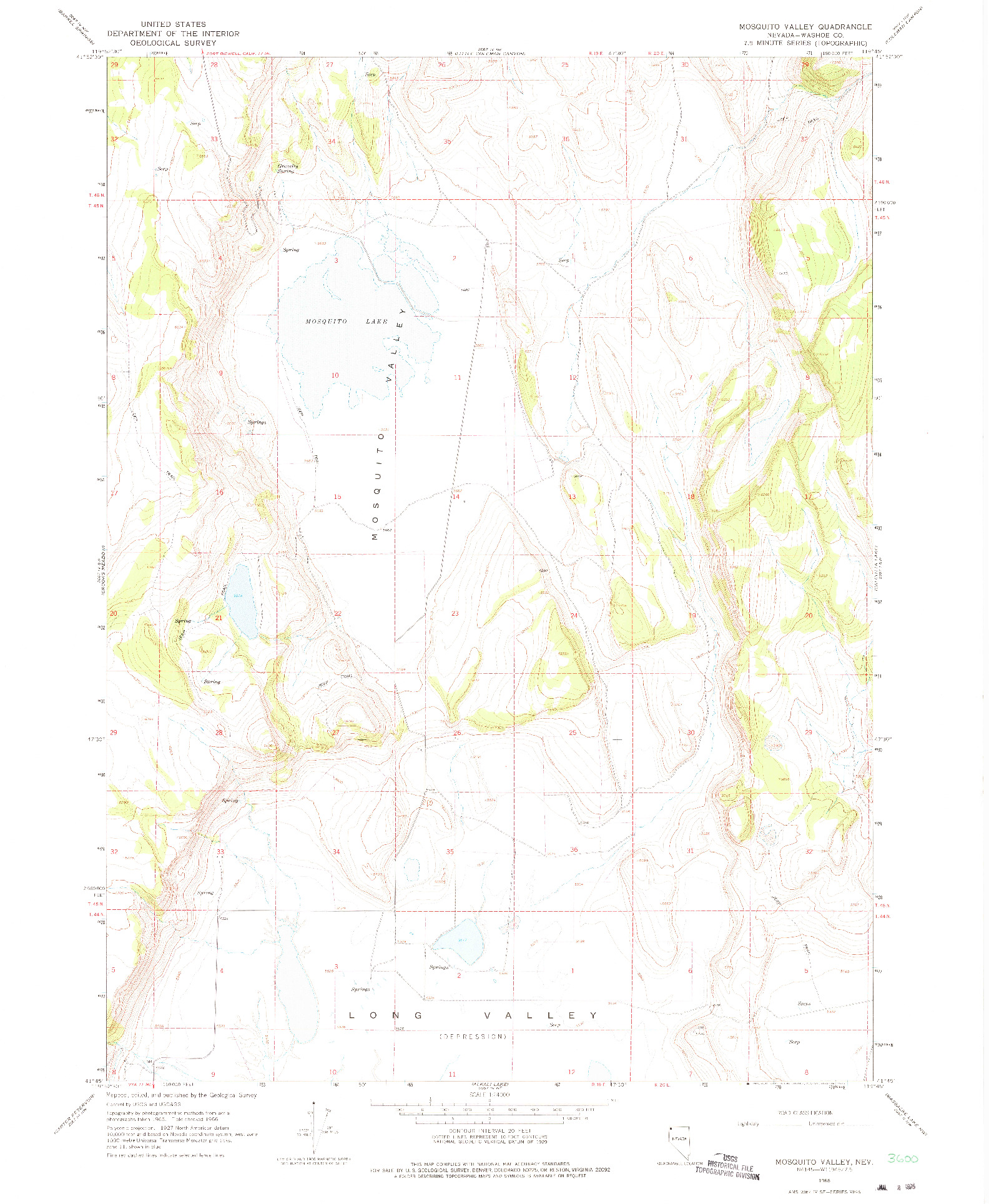 USGS 1:24000-SCALE QUADRANGLE FOR MOSQUITO VALLEY, NV 1966