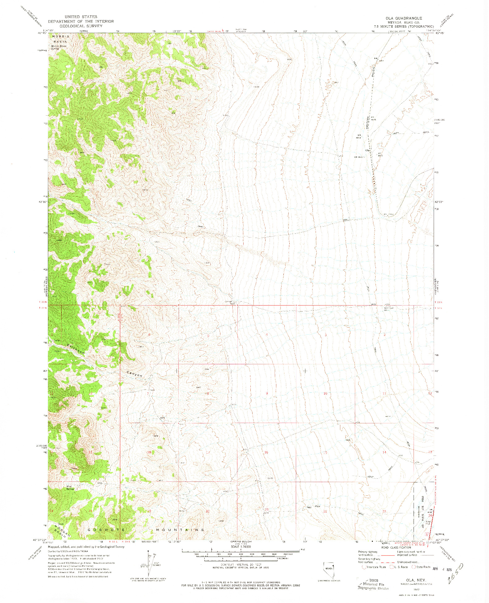 USGS 1:24000-SCALE QUADRANGLE FOR OLA, NV 1972