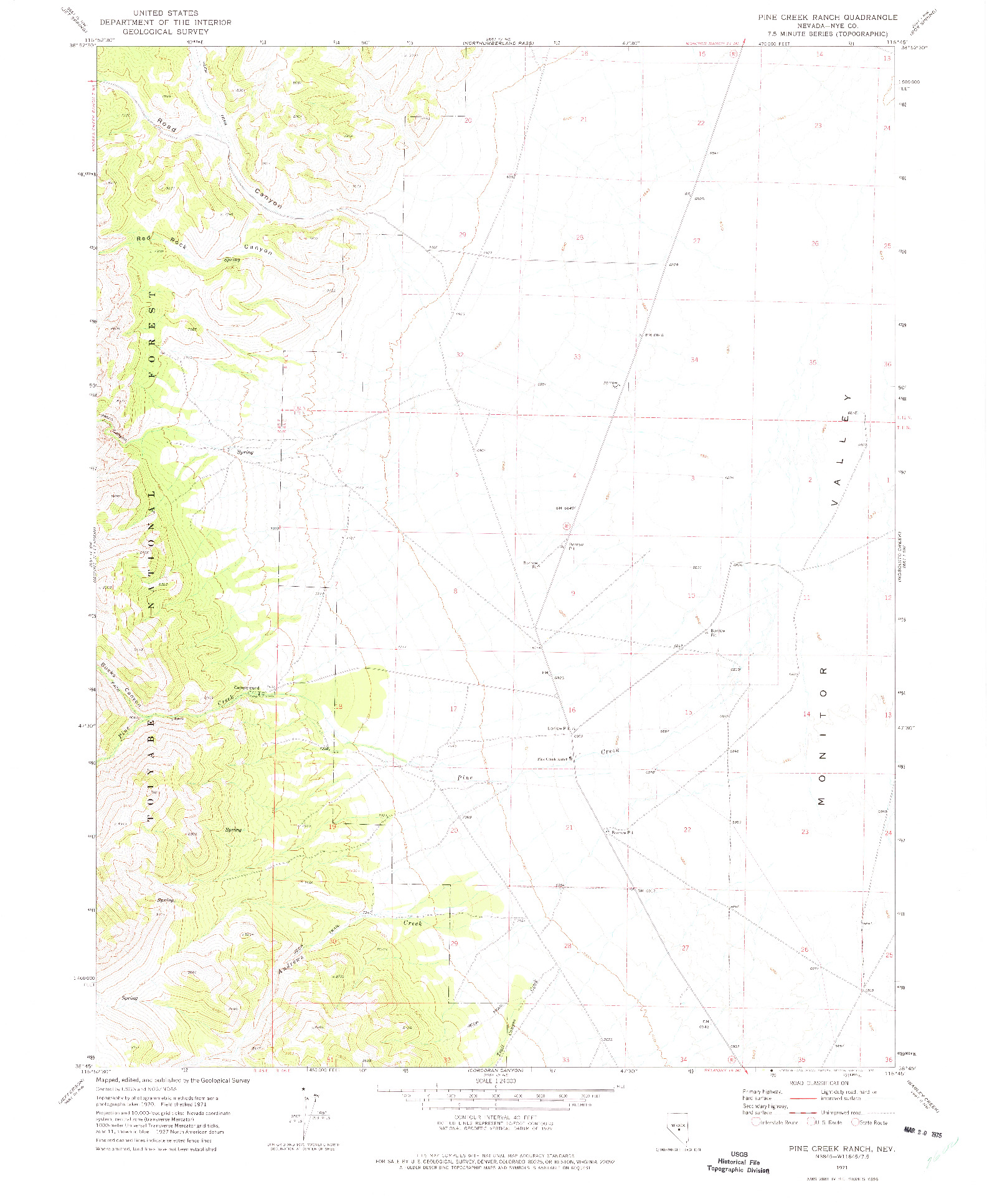 USGS 1:24000-SCALE QUADRANGLE FOR PINE CREEK RANCH, NV 1971