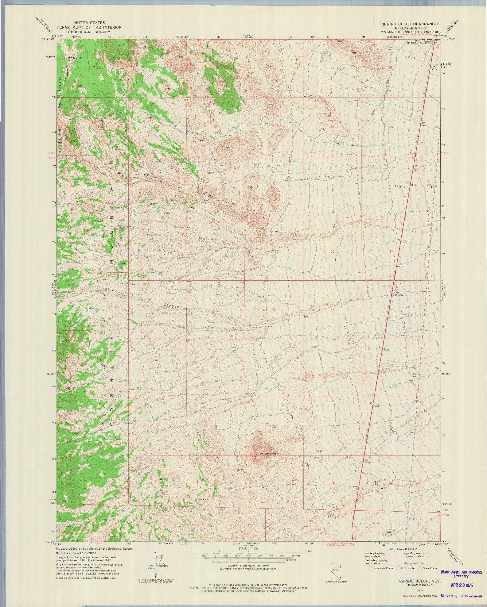 USGS 1:24000-SCALE QUADRANGLE FOR SPRING GULCH, NV 1972