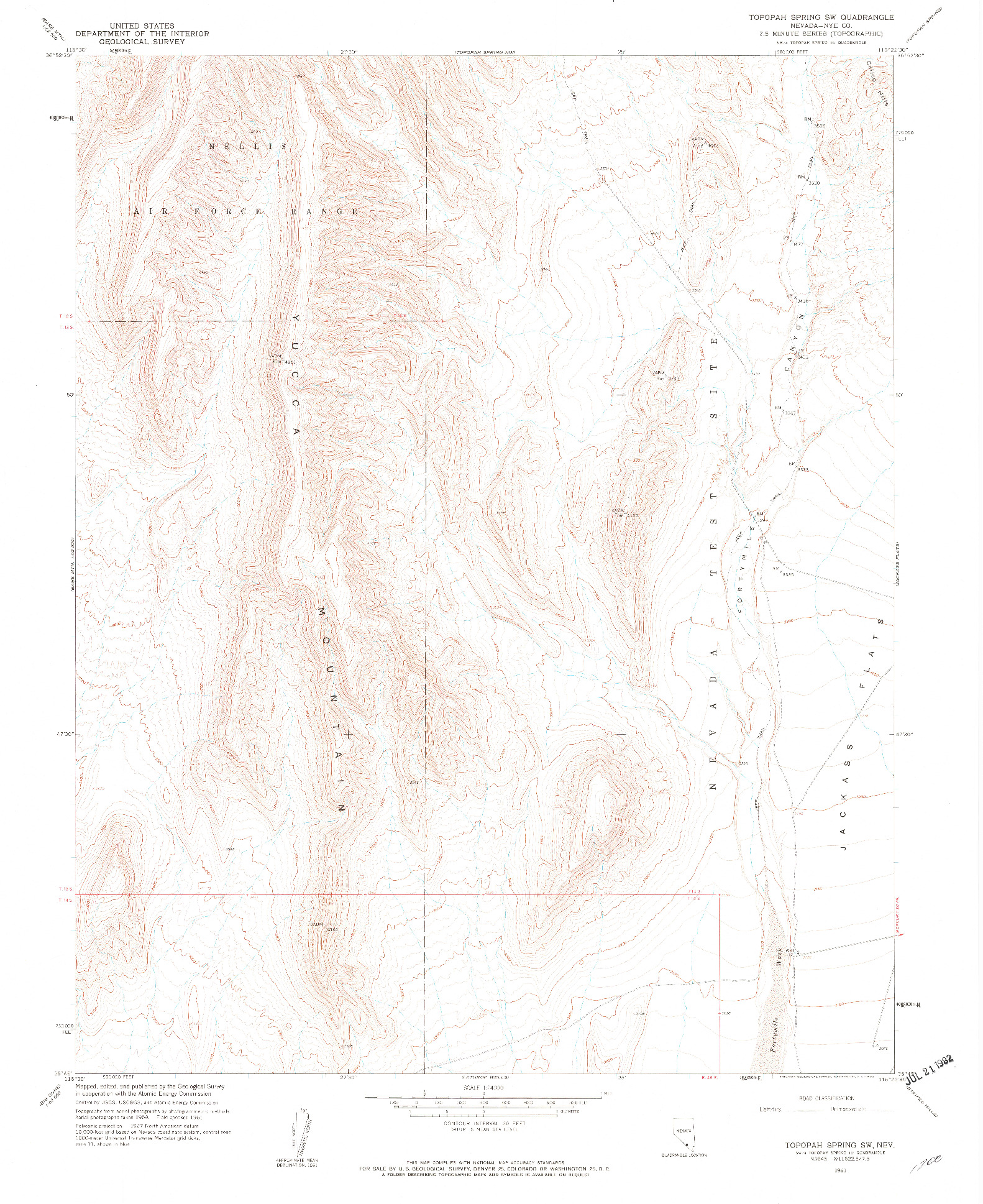 USGS 1:24000-SCALE QUADRANGLE FOR TOPOPAH SPRING SW, NV 1961