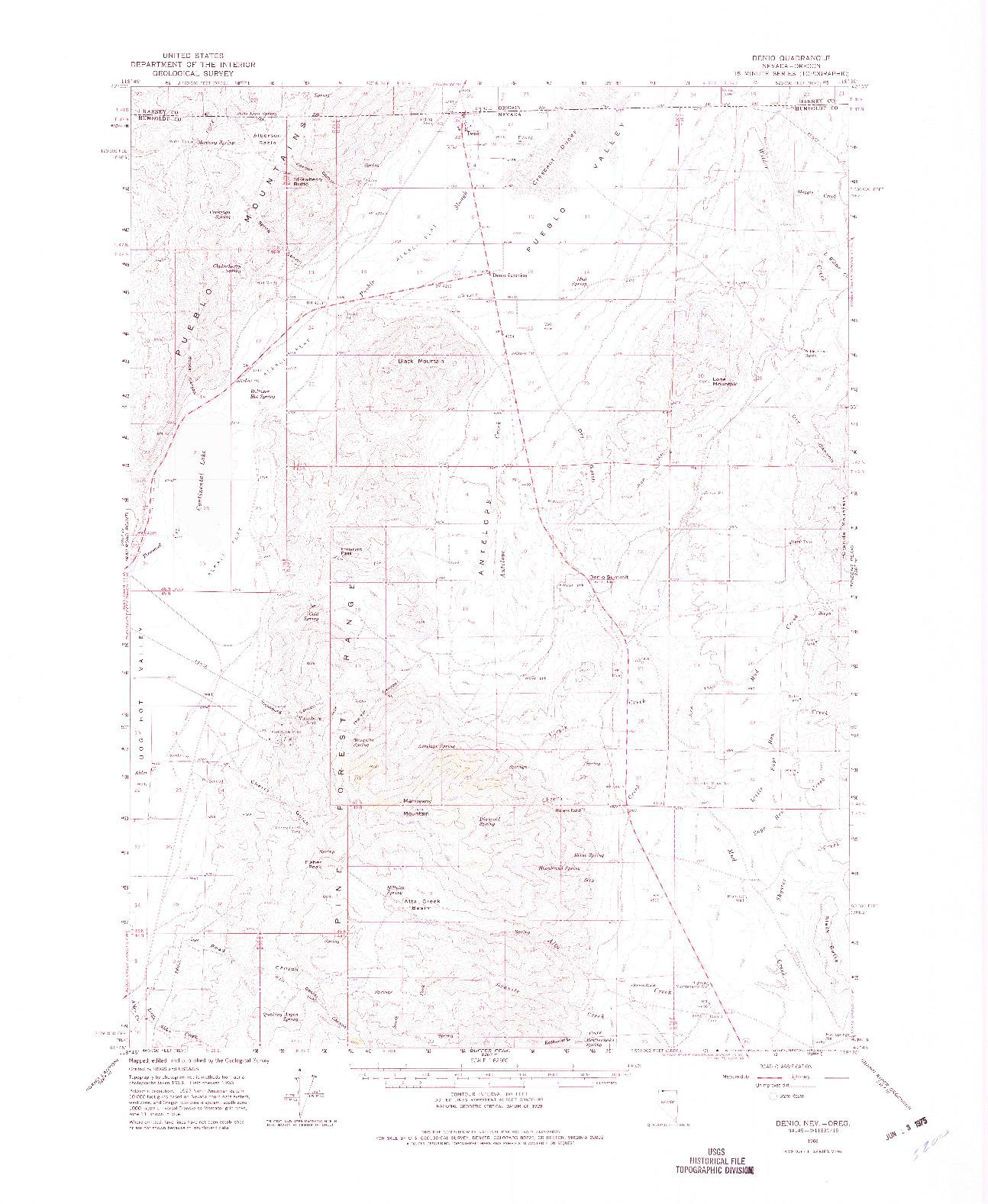 USGS 1:62500-SCALE QUADRANGLE FOR DENIO, NV 1966