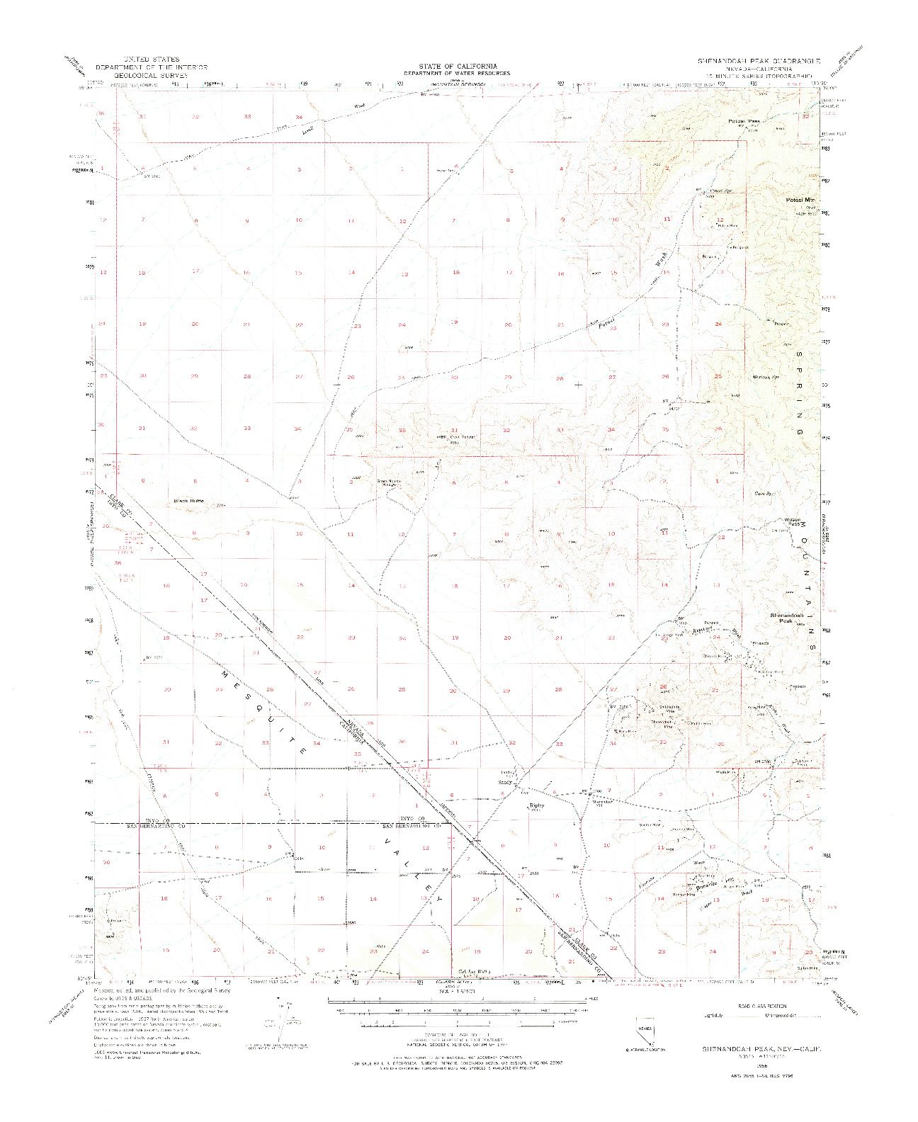 USGS 1:62500-SCALE QUADRANGLE FOR SHENANDOAH PEAK, NV 1956