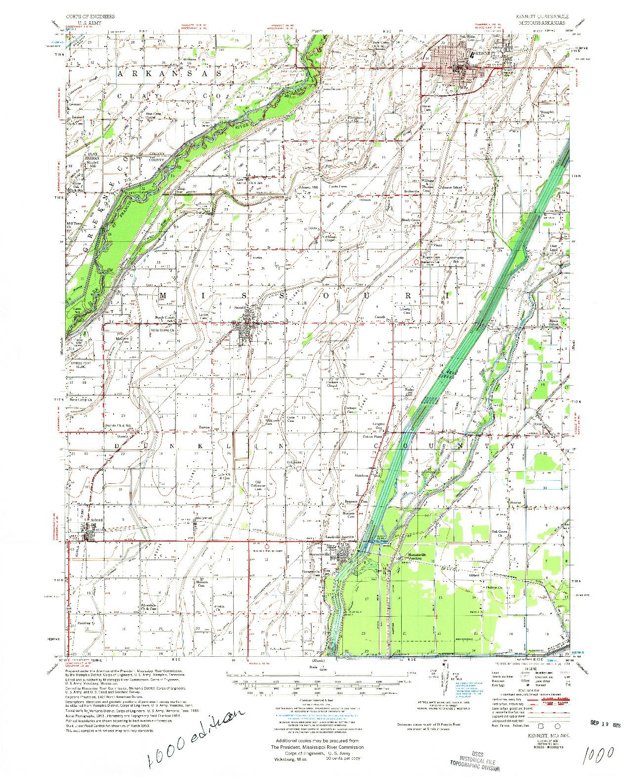 USGS 1:62500-SCALE QUADRANGLE FOR KENNETT, MO 1956