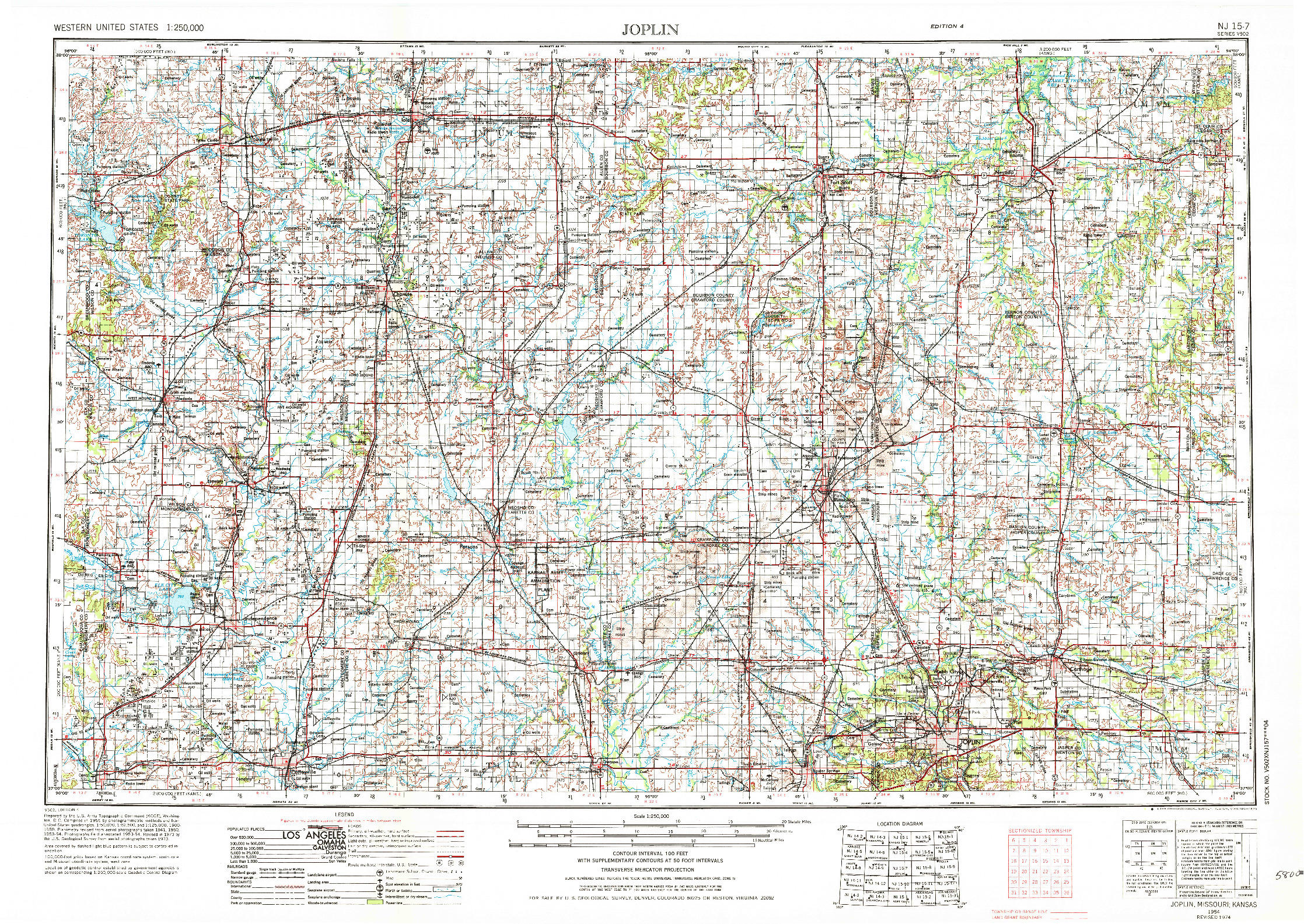 USGS 1:250000-SCALE QUADRANGLE FOR JOPLIN, MO 1954