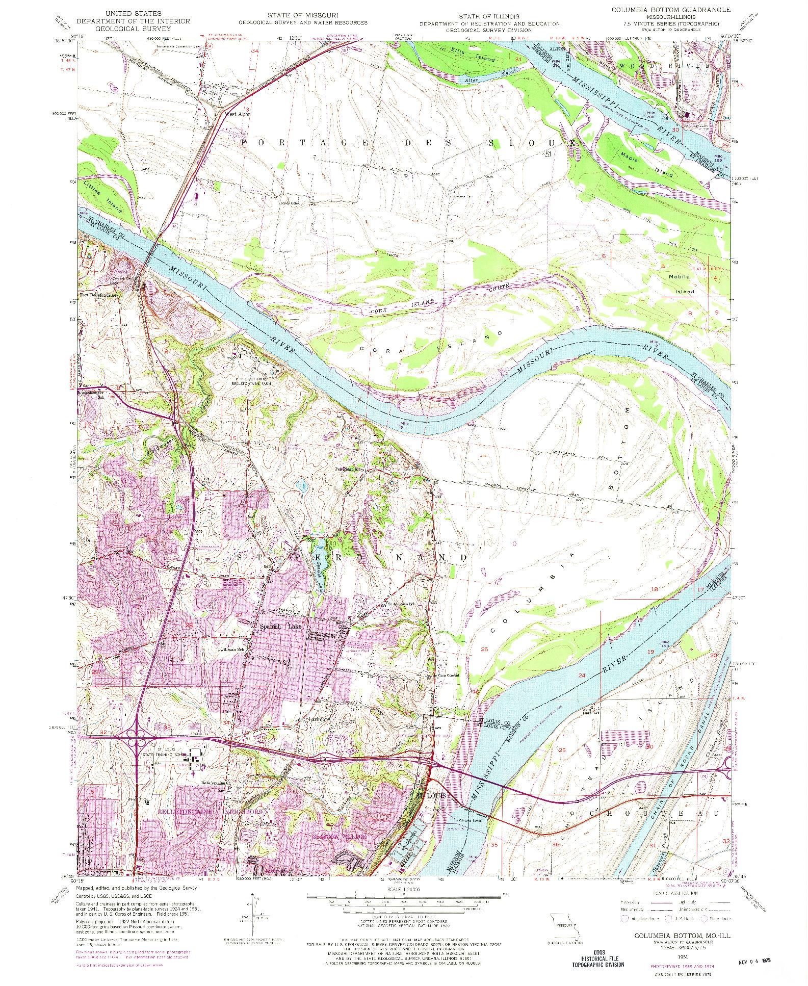 USGS 1:24000-SCALE QUADRANGLE FOR COLUMBIA BOTTOM, MO 1951