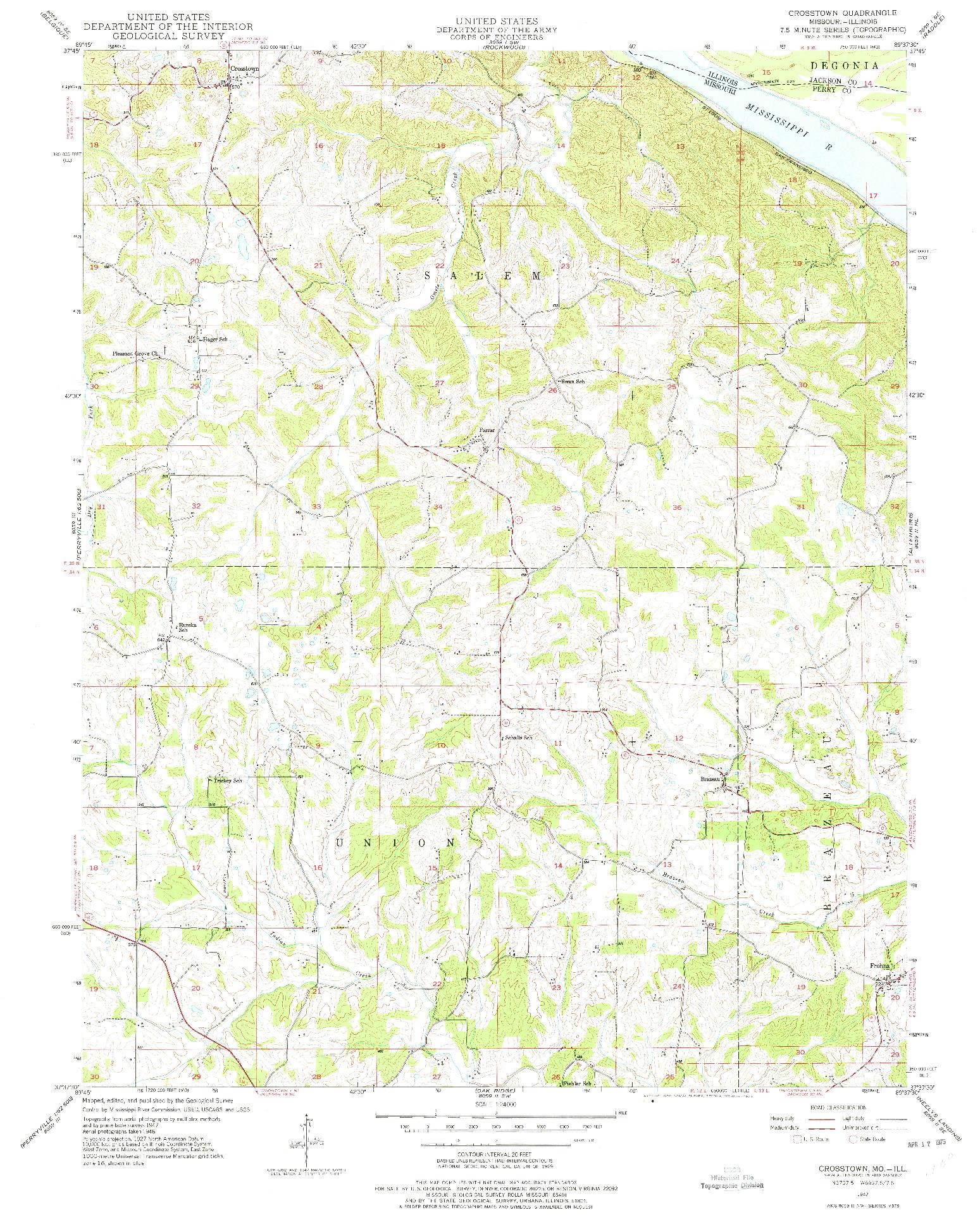 USGS 1:24000-SCALE QUADRANGLE FOR CROSSTOWN, MO 1947