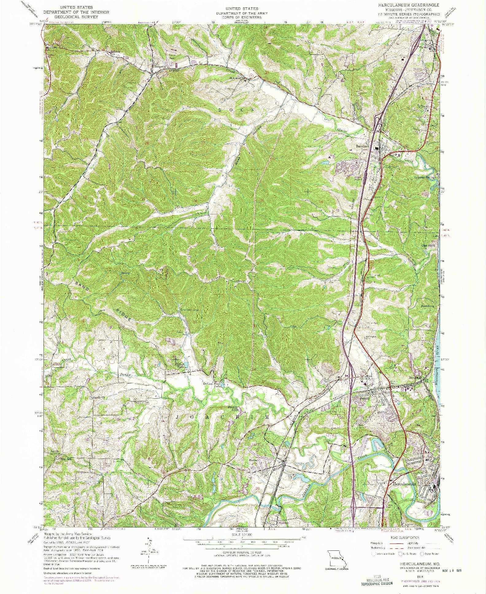 USGS 1:24000-SCALE QUADRANGLE FOR HERCULANEUM, MO 1954