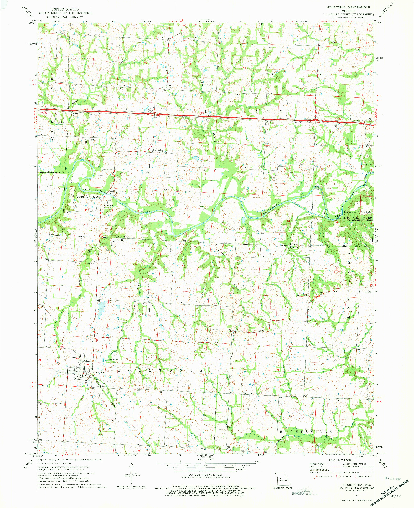 USGS 1:24000-SCALE QUADRANGLE FOR HOUSTONIA, MO 1973