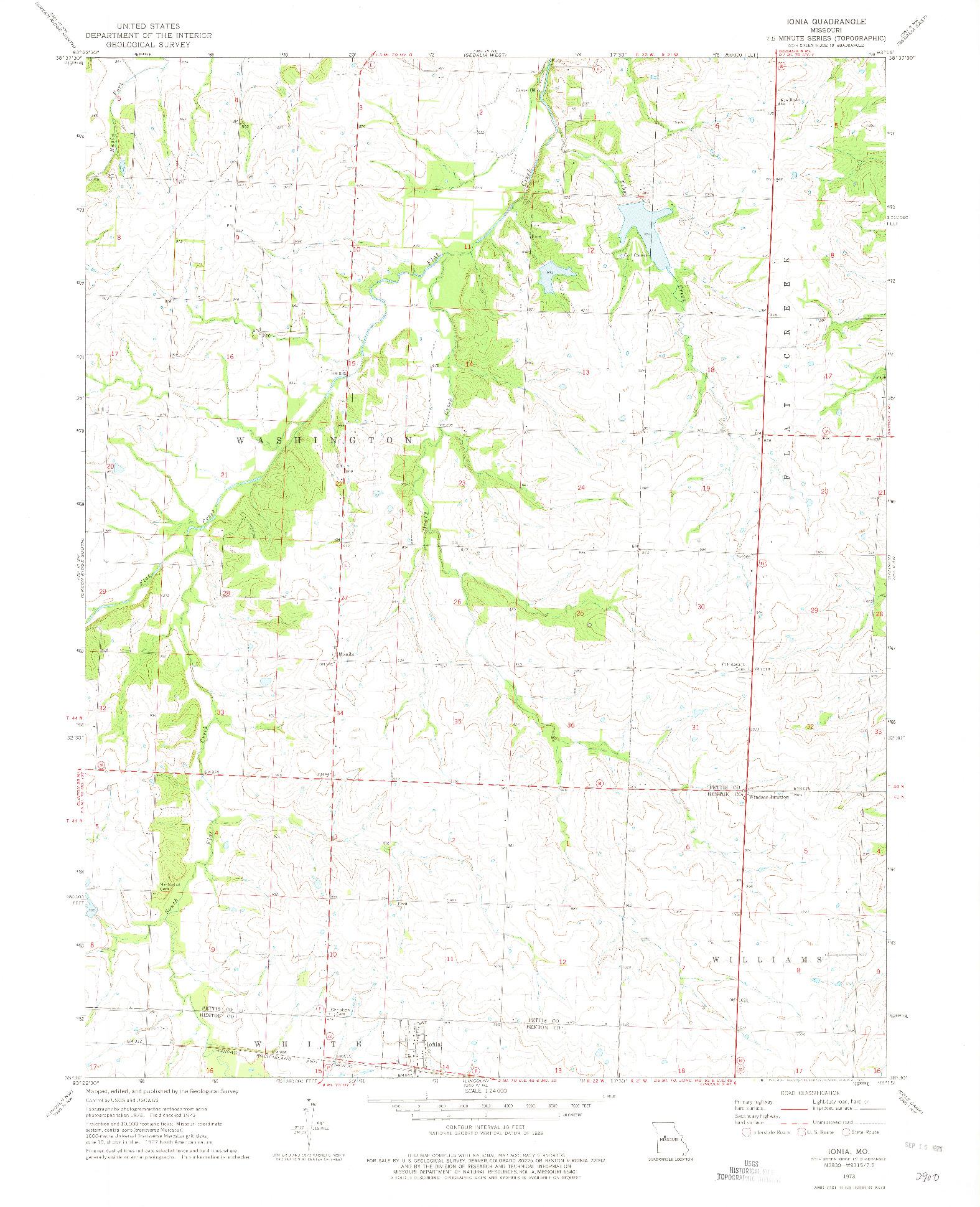 USGS 1:24000-SCALE QUADRANGLE FOR IONIA, MO 1973