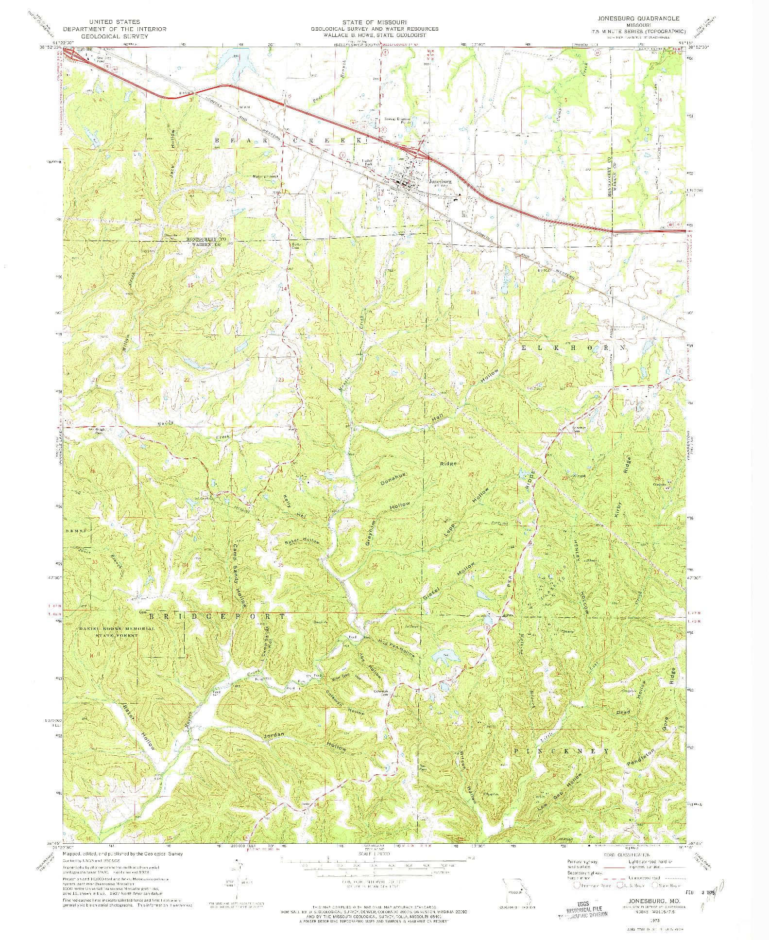USGS 1:24000-SCALE QUADRANGLE FOR JONESBURG, MO 1973