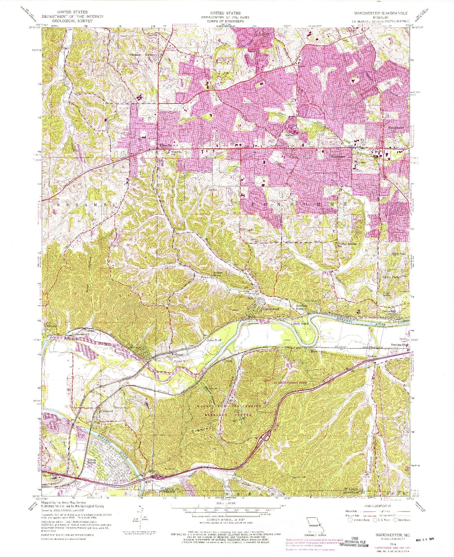 USGS 1:24000-SCALE QUADRANGLE FOR MANCHESTER, MO 1954