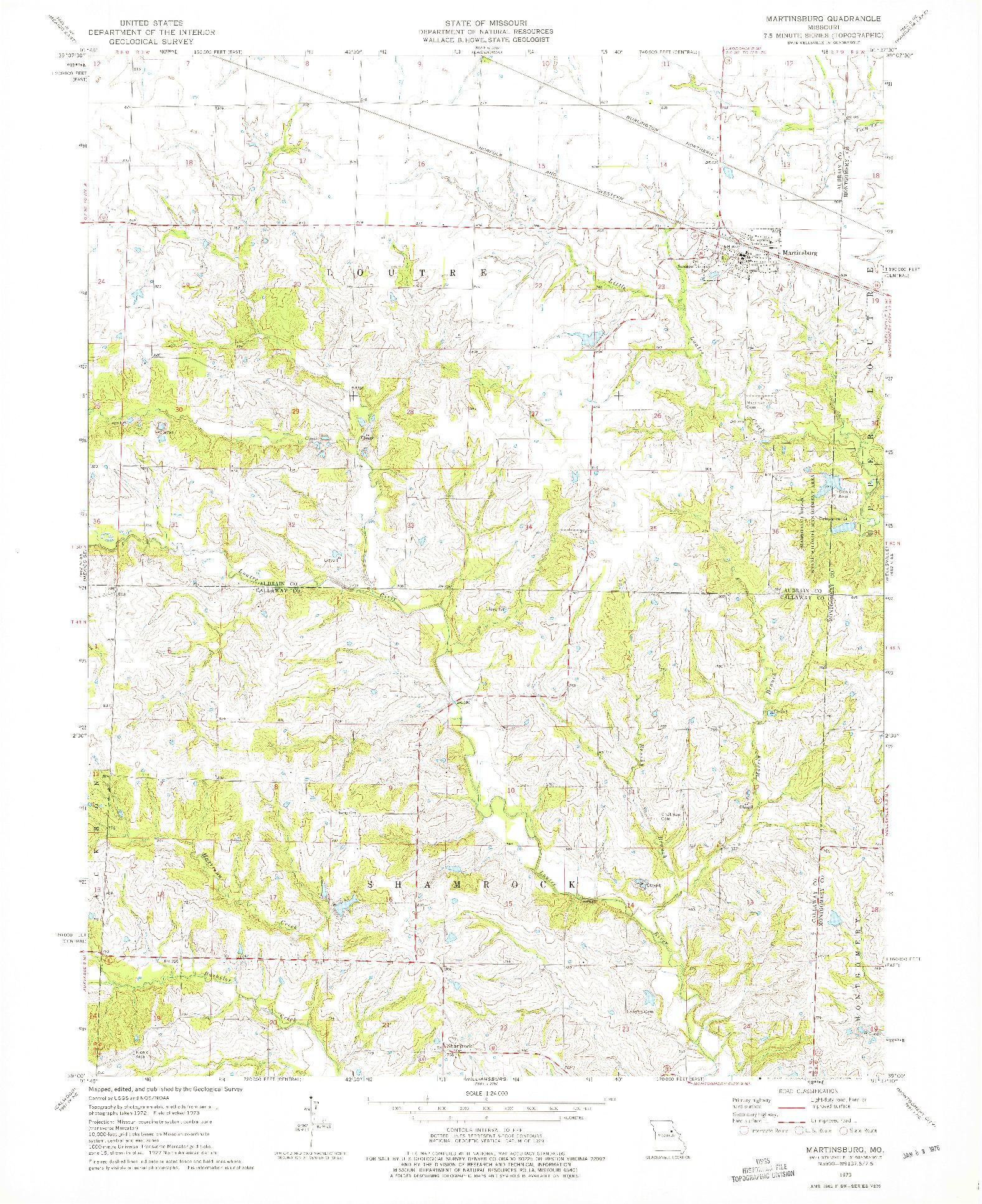 USGS 1:24000-SCALE QUADRANGLE FOR MARTINSBURG, MO 1973