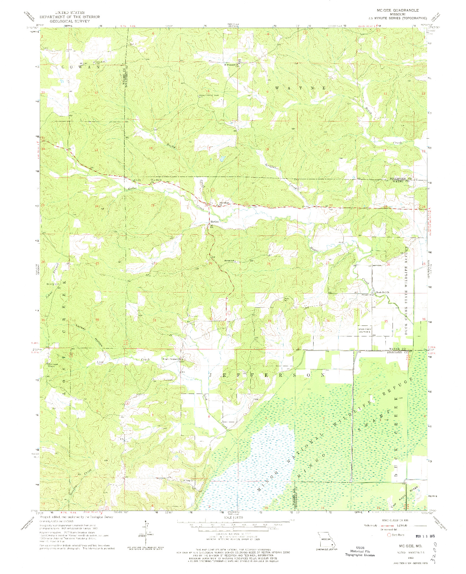 USGS 1:24000-SCALE QUADRANGLE FOR MCGEE, MO 1963