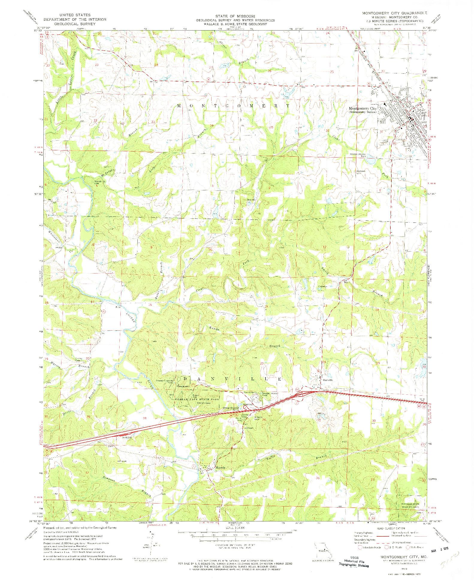 USGS 1:24000-SCALE QUADRANGLE FOR MONTGOMERY CITY, MO 1973
