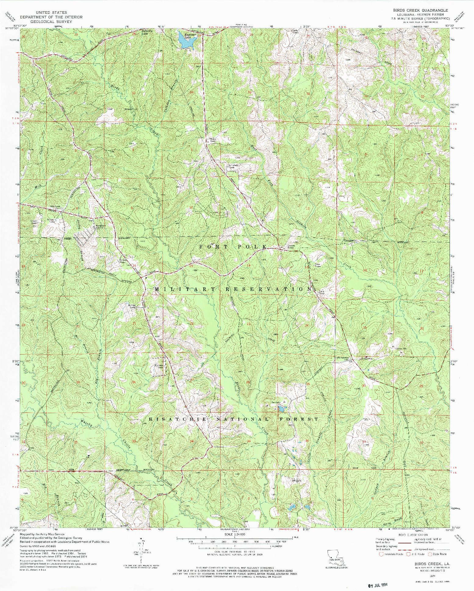 USGS 1:24000-SCALE QUADRANGLE FOR BIRDS CREEK, LA 1974