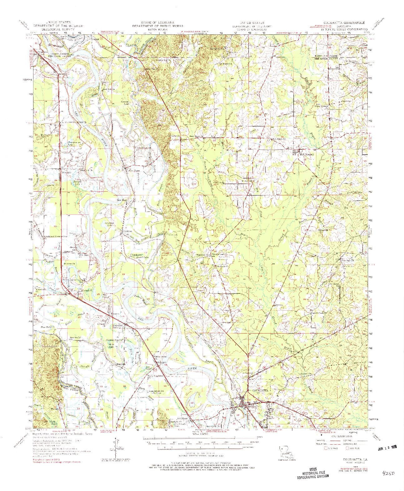 USGS 1:62500-SCALE QUADRANGLE FOR COUSHATTA, LA 1957