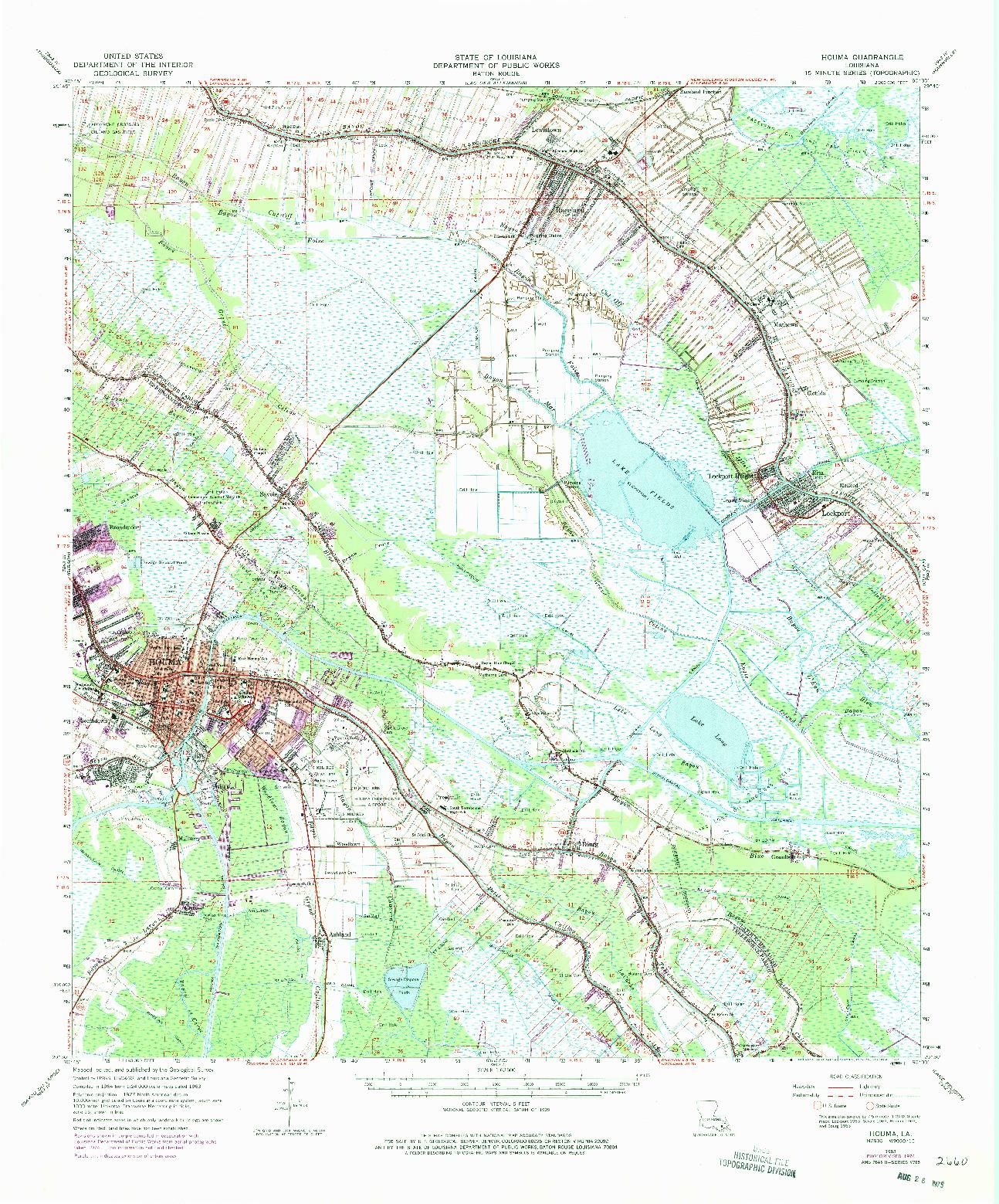 USGS 1:62500-SCALE QUADRANGLE FOR HOUMA, LA 1963