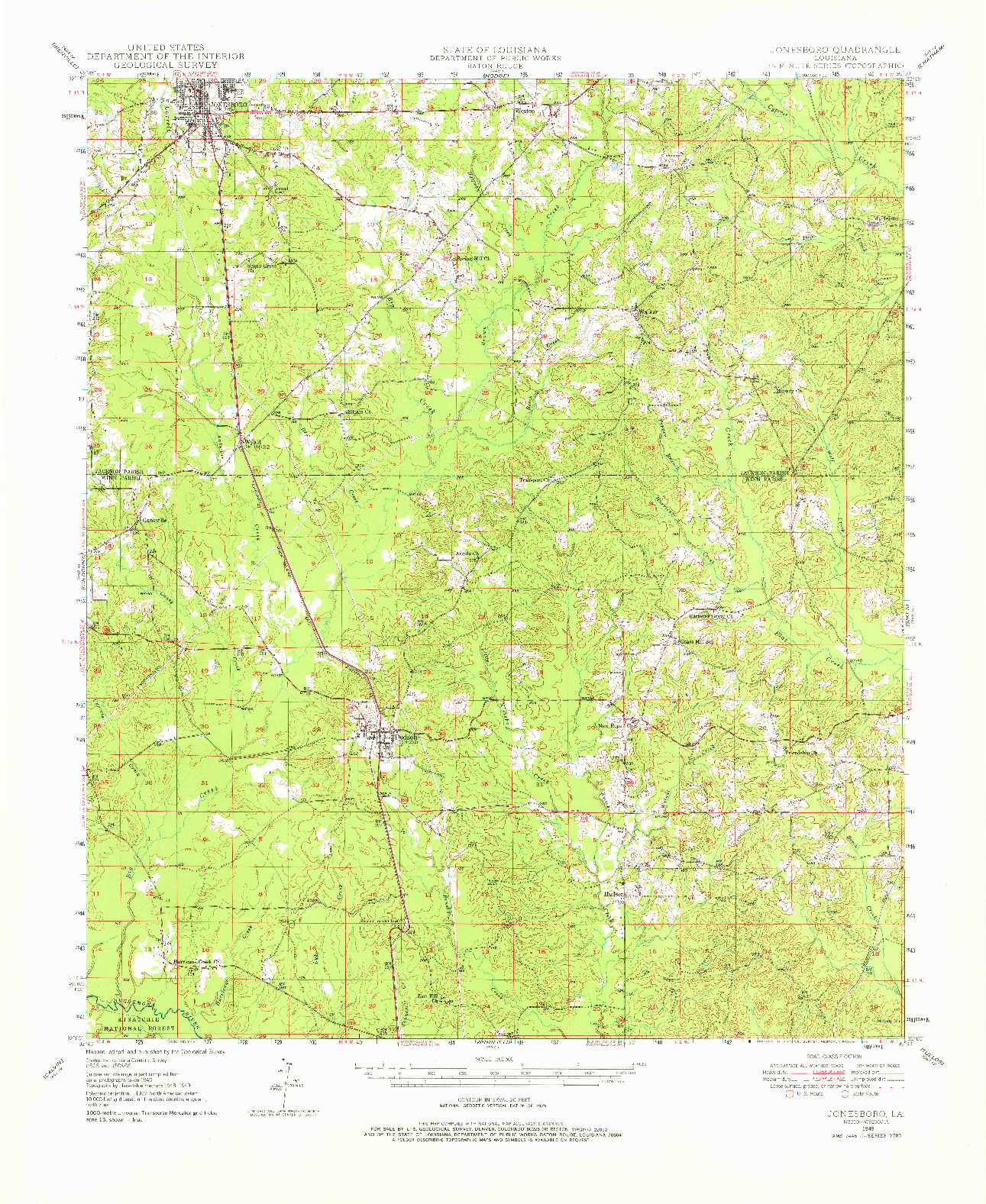 USGS 1:62500-SCALE QUADRANGLE FOR JONESBORO, LA 1949