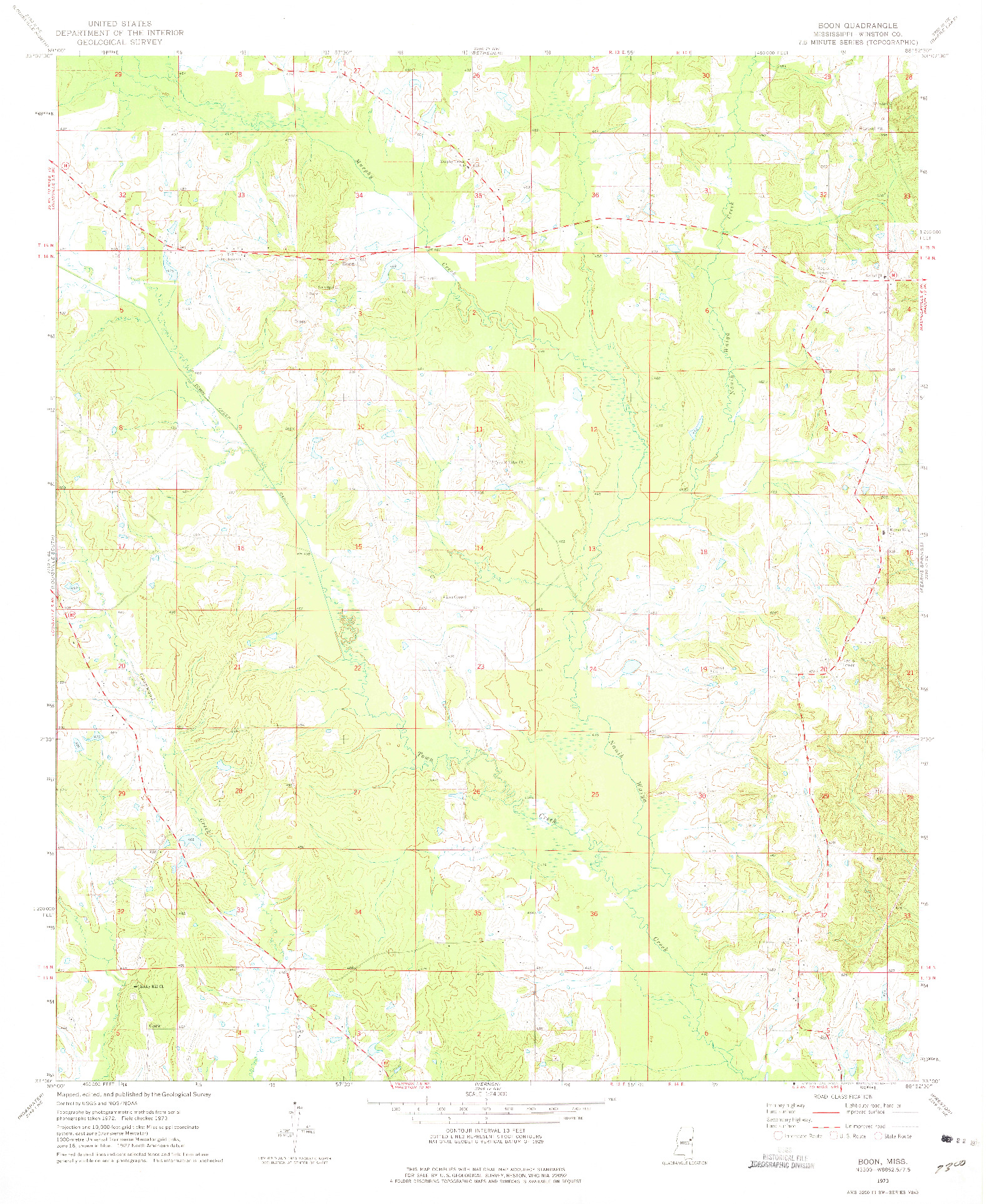 USGS 1:24000-SCALE QUADRANGLE FOR BOON, MS 1973