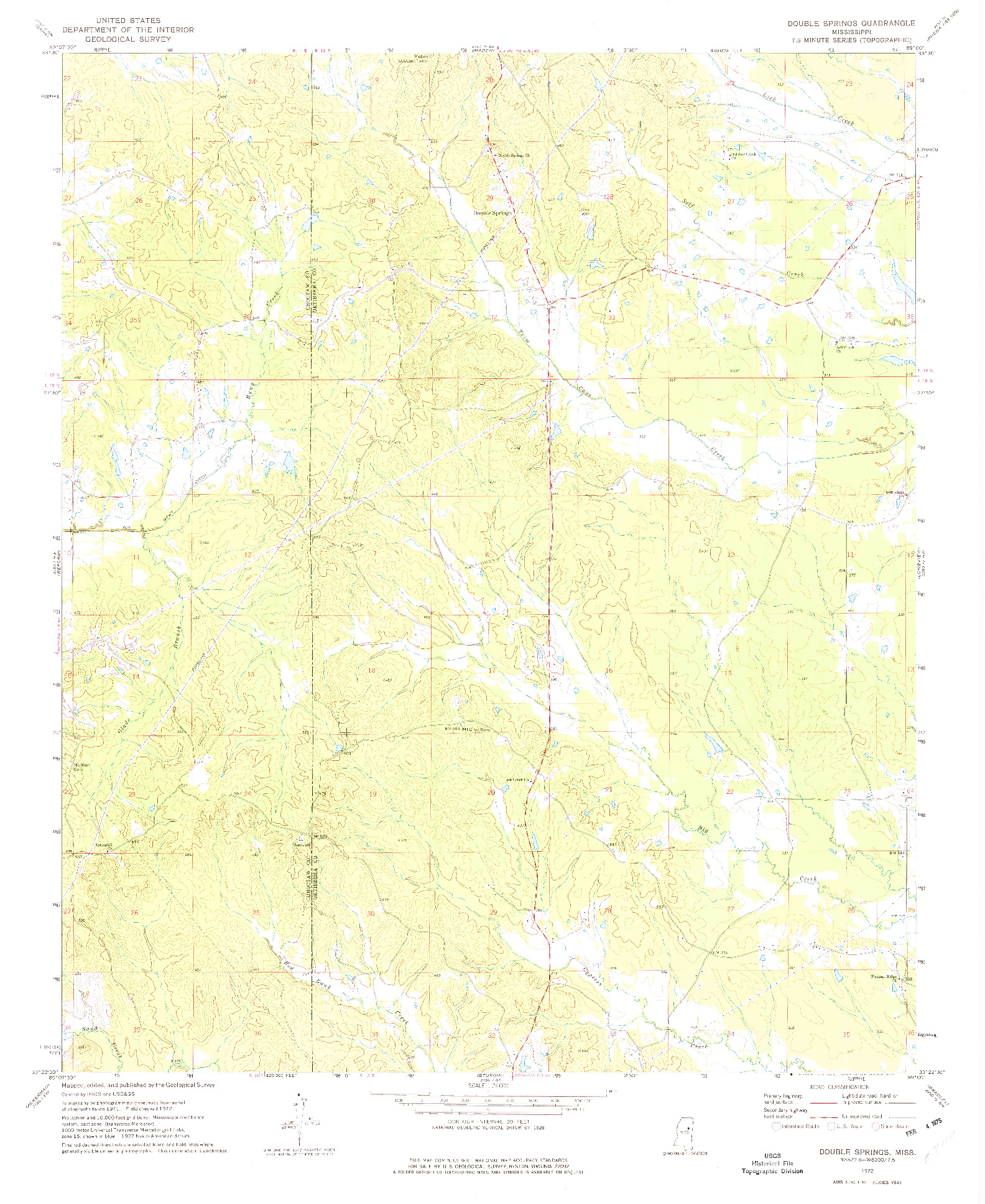 USGS 1:24000-SCALE QUADRANGLE FOR DOUBLE SPRINGS, MS 1972