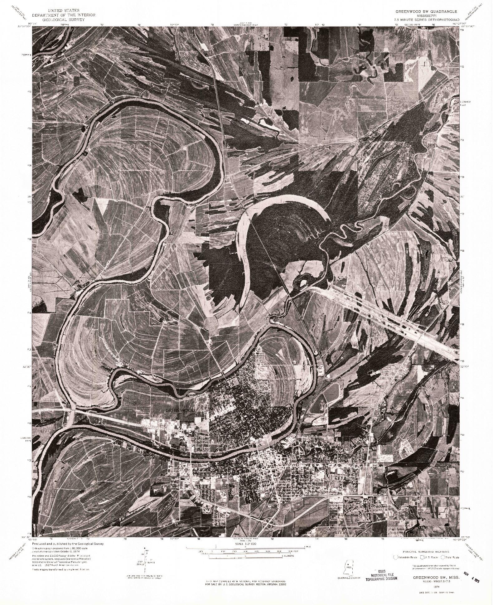 USGS 1:24000-SCALE QUADRANGLE FOR GREENWOOD SW, MS 1974