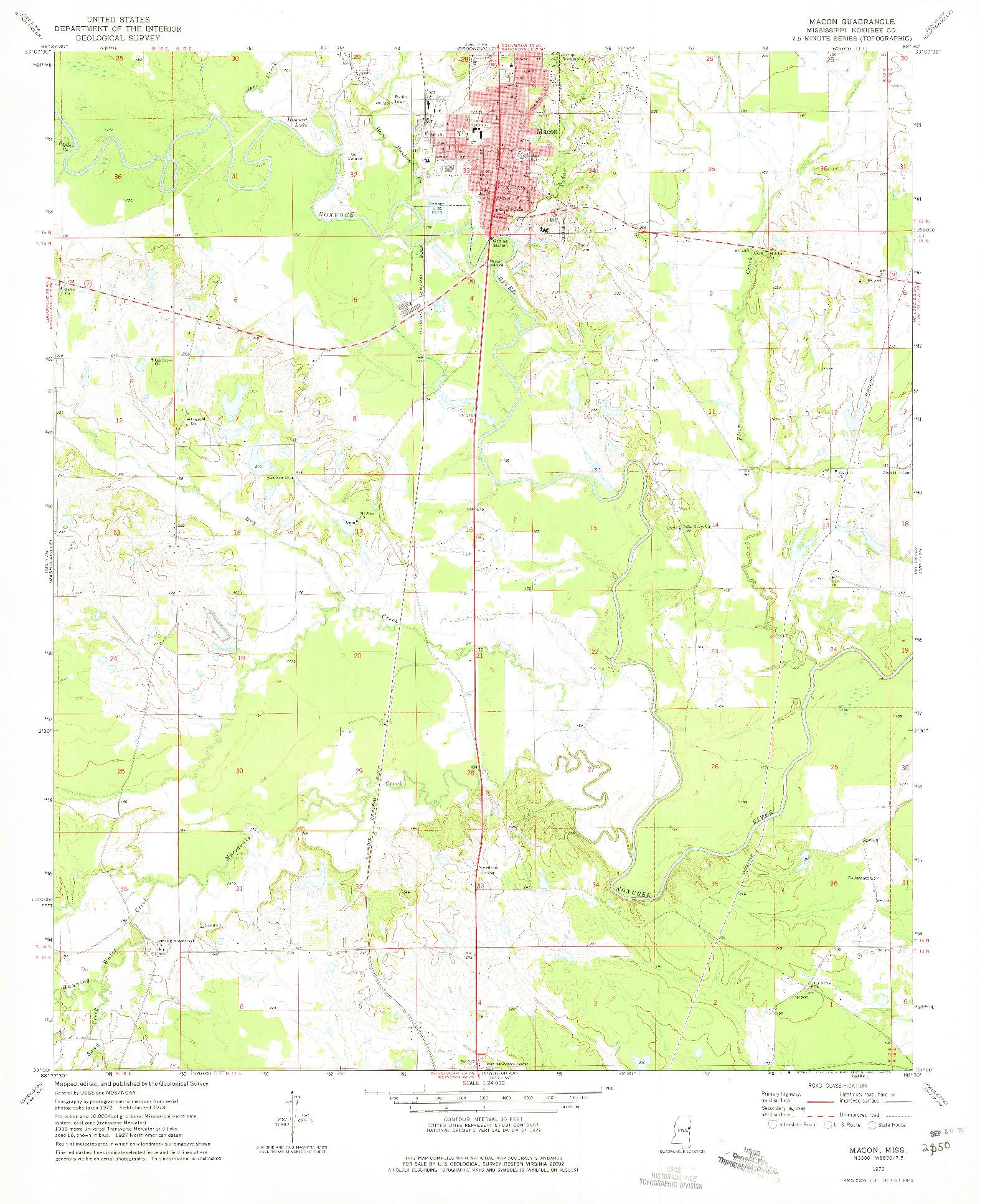 USGS 1:24000-SCALE QUADRANGLE FOR MACON, MS 1973