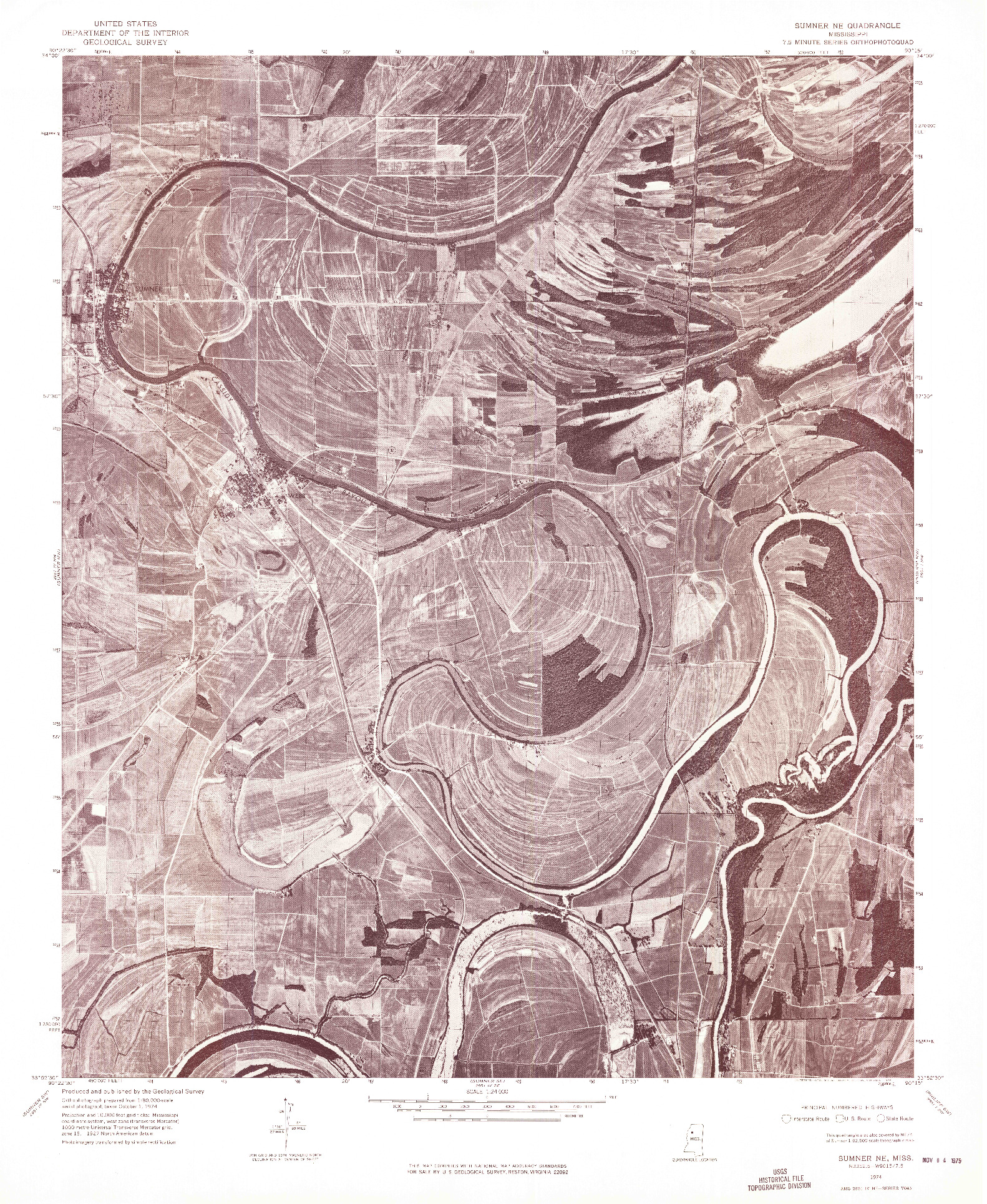 USGS 1:24000-SCALE QUADRANGLE FOR SUMNER NE, MS 1974