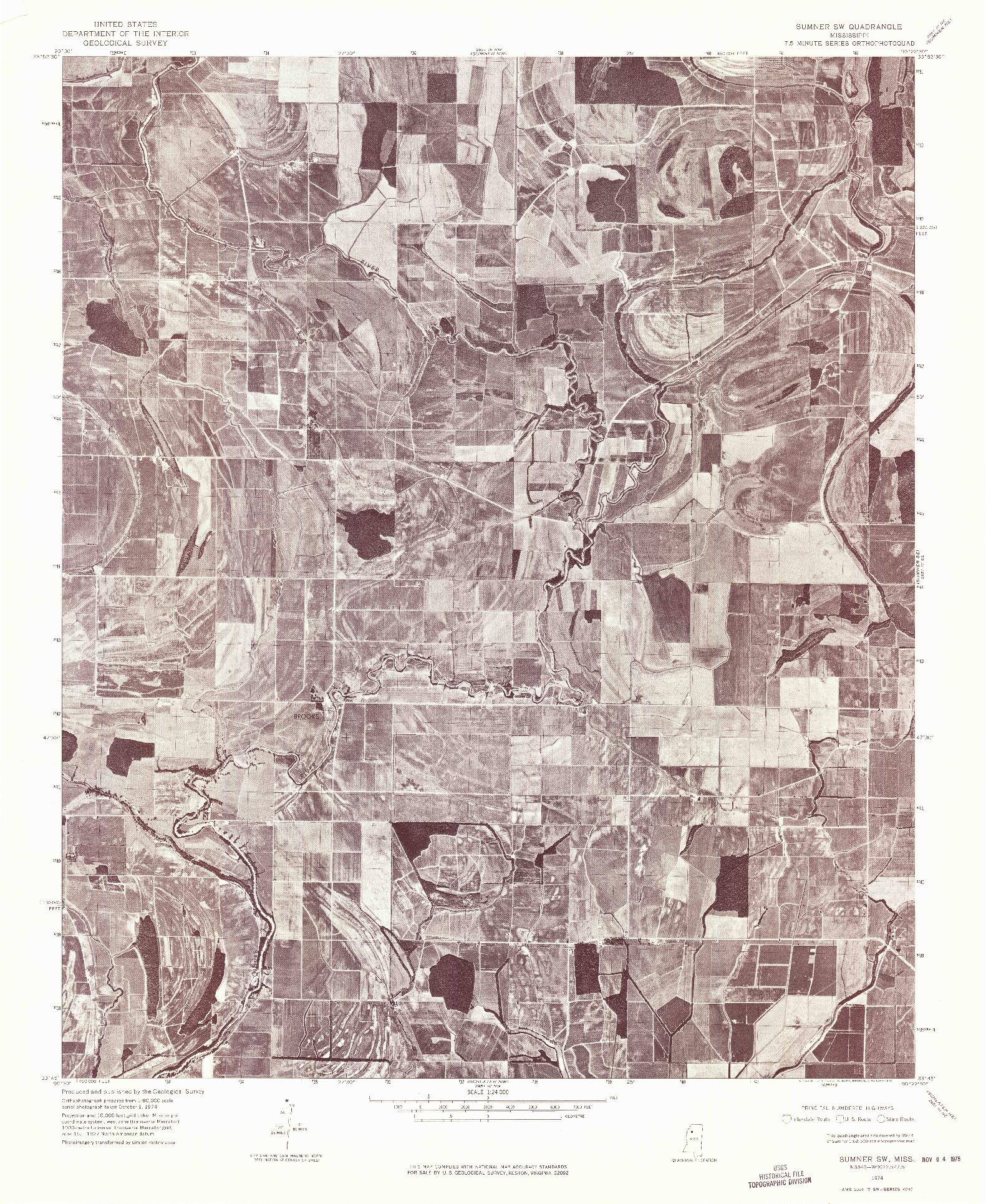 USGS 1:24000-SCALE QUADRANGLE FOR SUMNER SW, MS 1974