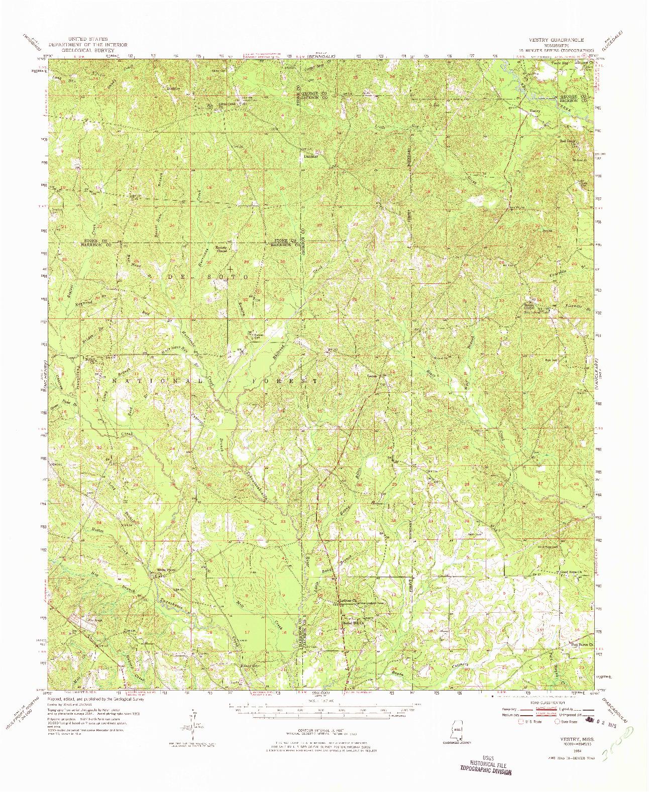 USGS 1:62500-SCALE QUADRANGLE FOR VESTRY, MS 1954