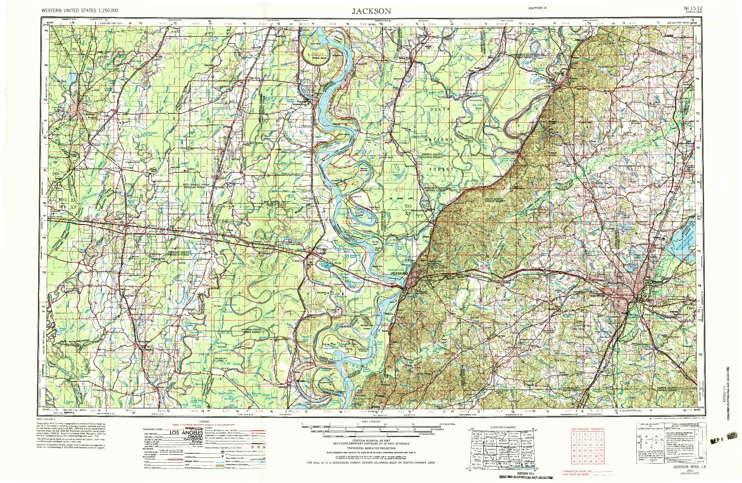 USGS 1:250000-SCALE QUADRANGLE FOR JACKSON, MS 1955