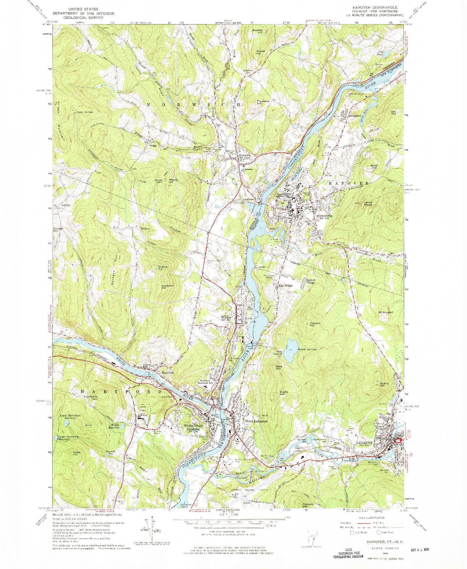 USGS 1:24000-SCALE QUADRANGLE FOR HANOVER, VT 1959