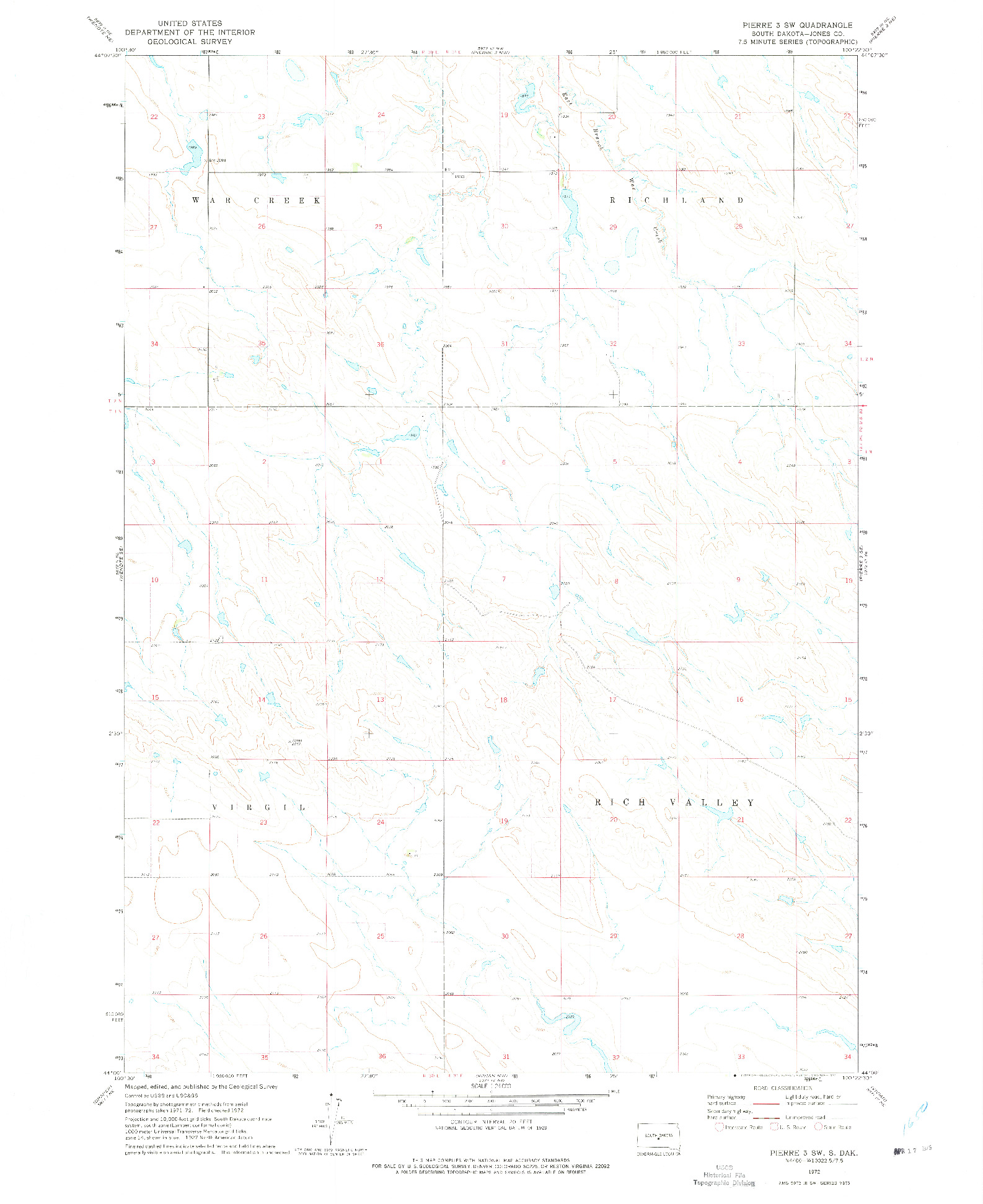 USGS 1:24000-SCALE QUADRANGLE FOR PIERRE 3 SW, SD 1972