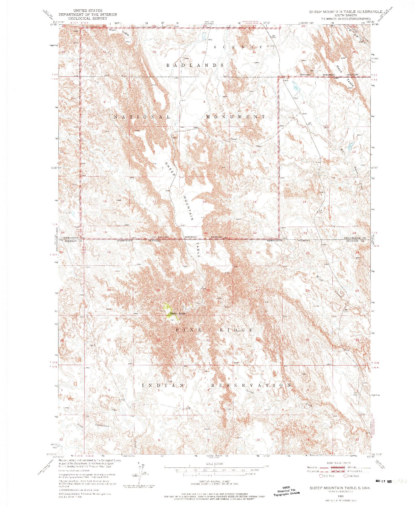 USGS 1:24000-SCALE QUADRANGLE FOR SHEEP MOUNTAIN TABLE, SD 1950