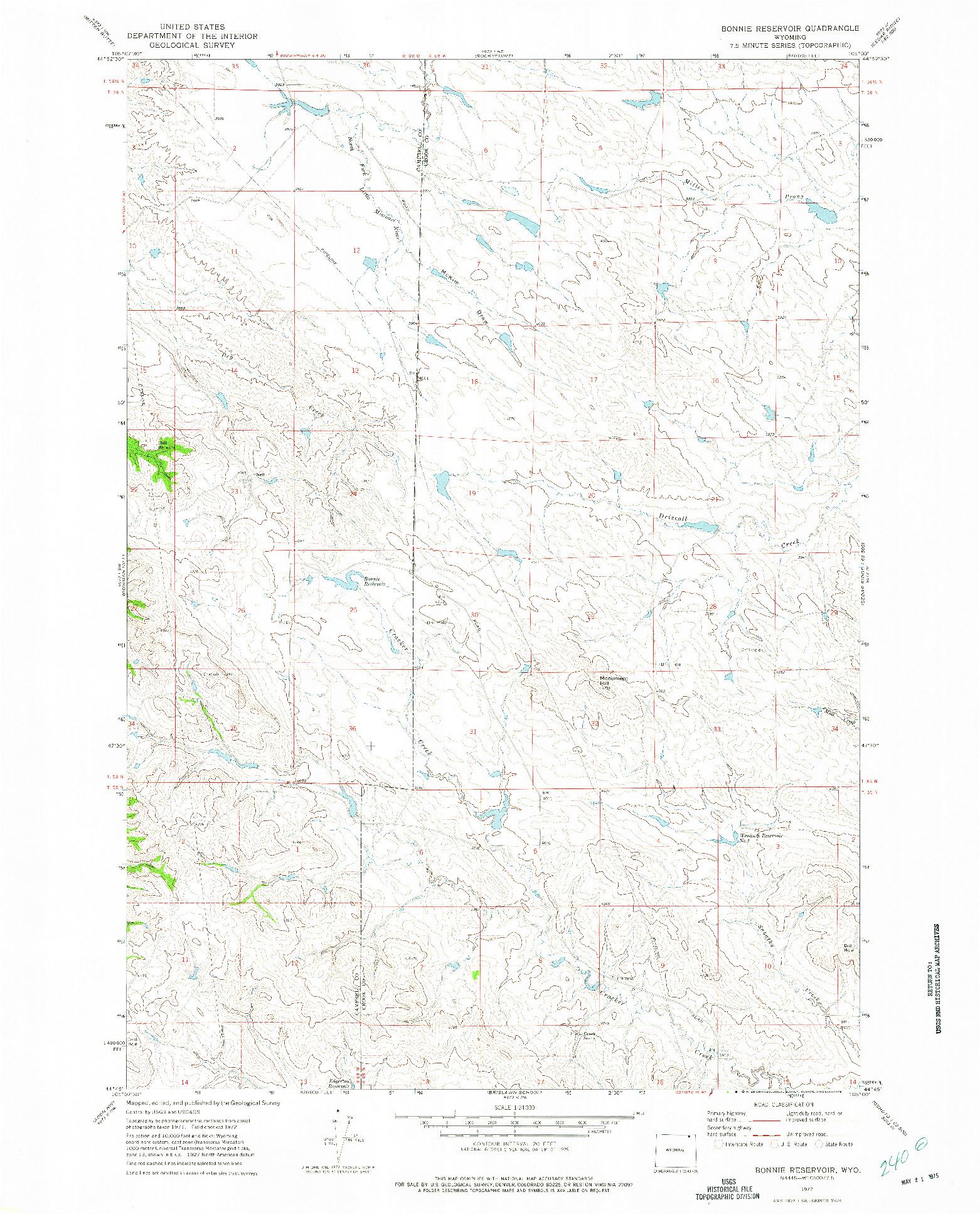 USGS 1:24000-SCALE QUADRANGLE FOR BONNIE RESERVOIR, WY 1972