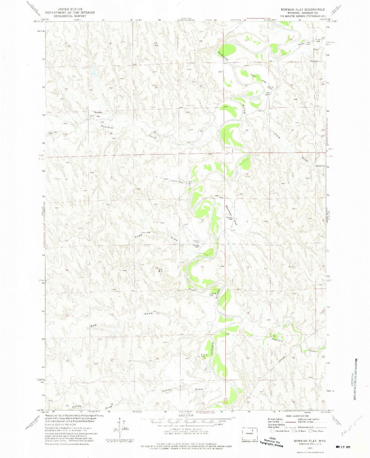 USGS 1:24000-SCALE QUADRANGLE FOR BOWMAN FLAT, WY 1972
