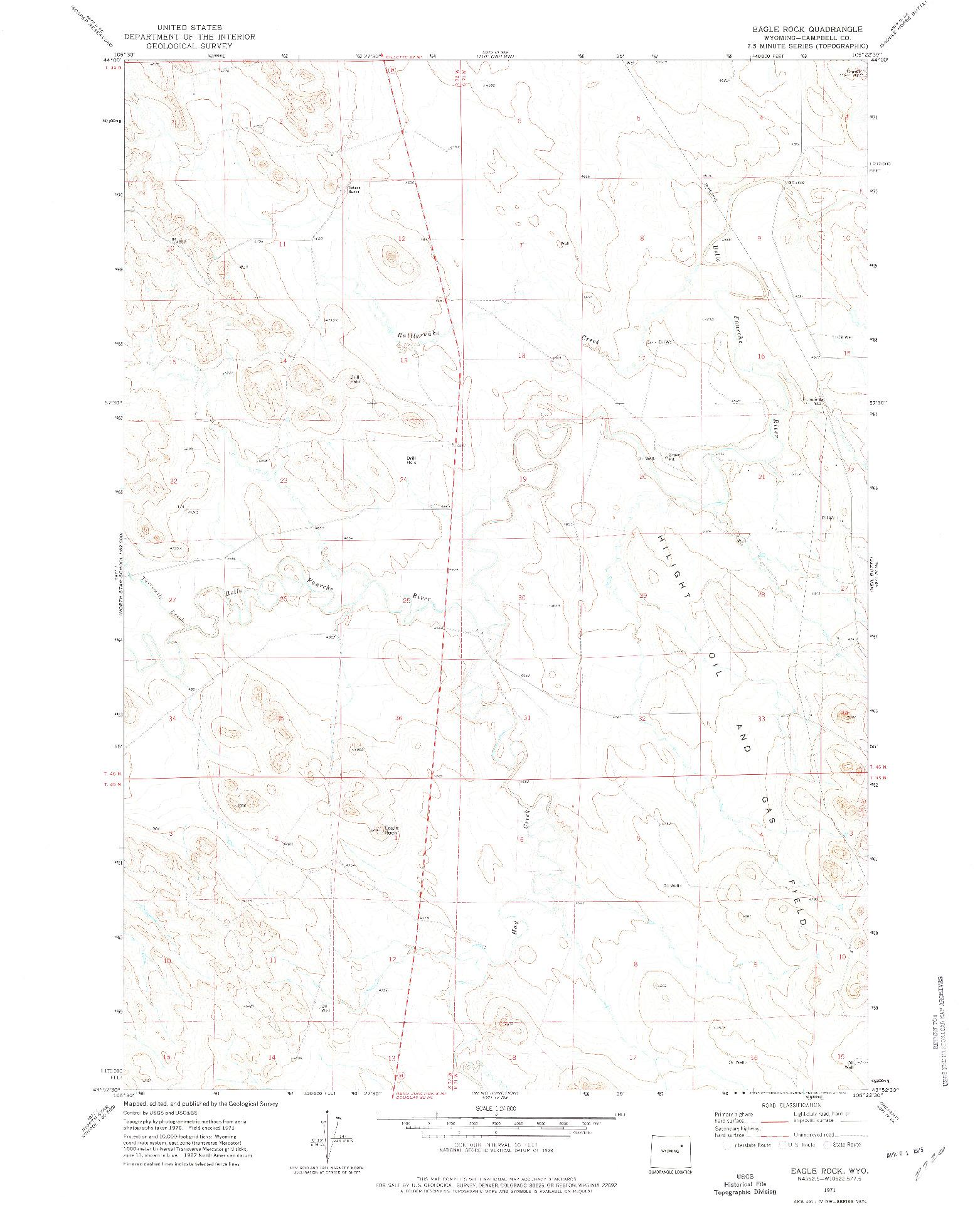 USGS 1:24000-SCALE QUADRANGLE FOR EAGLE ROCK, WY 1971