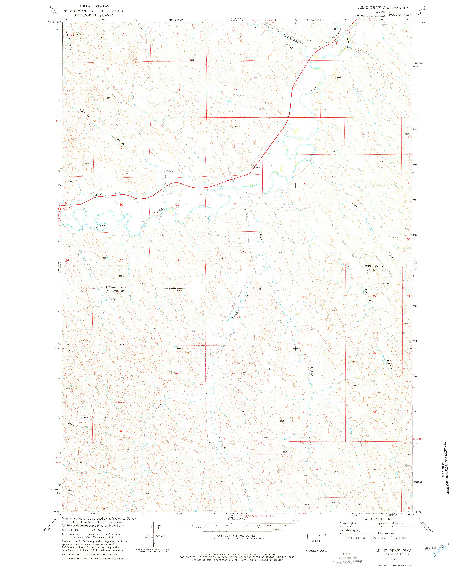 USGS 1:24000-SCALE QUADRANGLE FOR JULIO DRAW, WY 1971