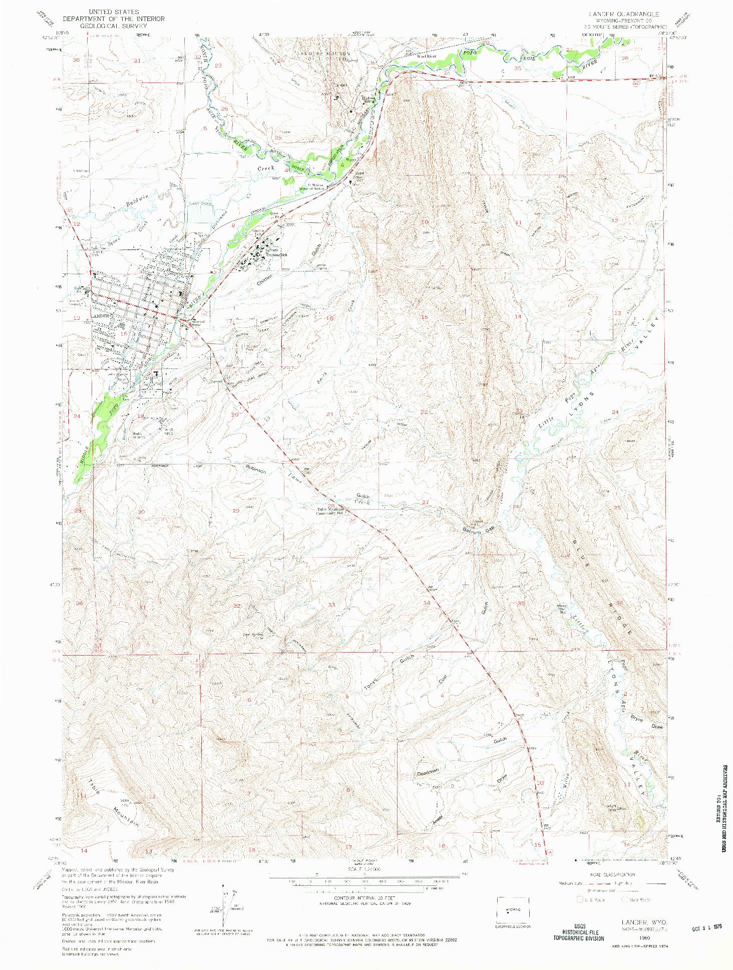 USGS 1:24000-SCALE QUADRANGLE FOR LANDER, WY 1960